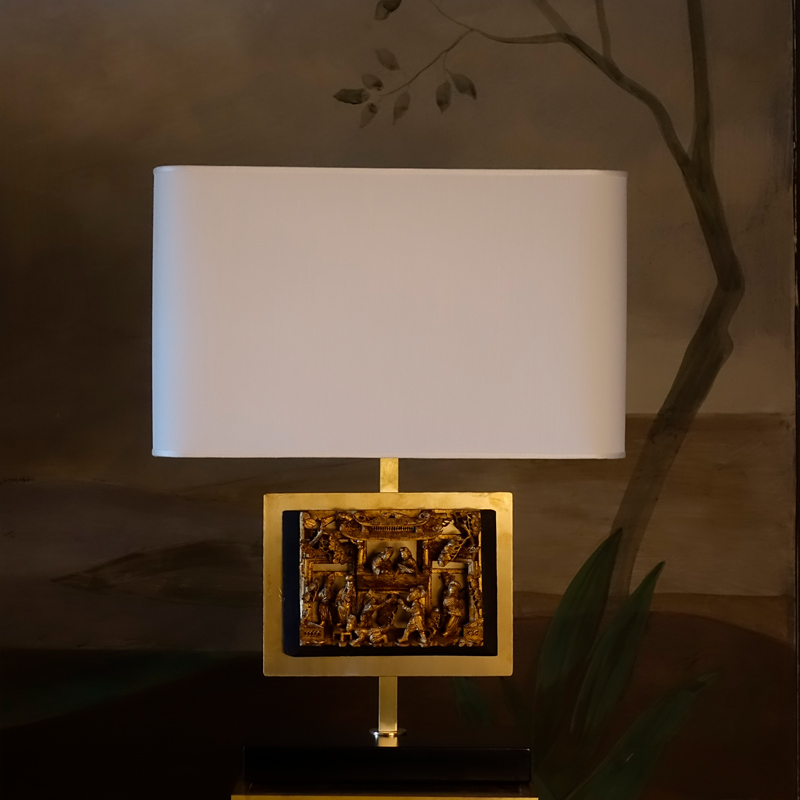 Contemporary Table Lamp with Rectangular Vintage Chinese Fregio