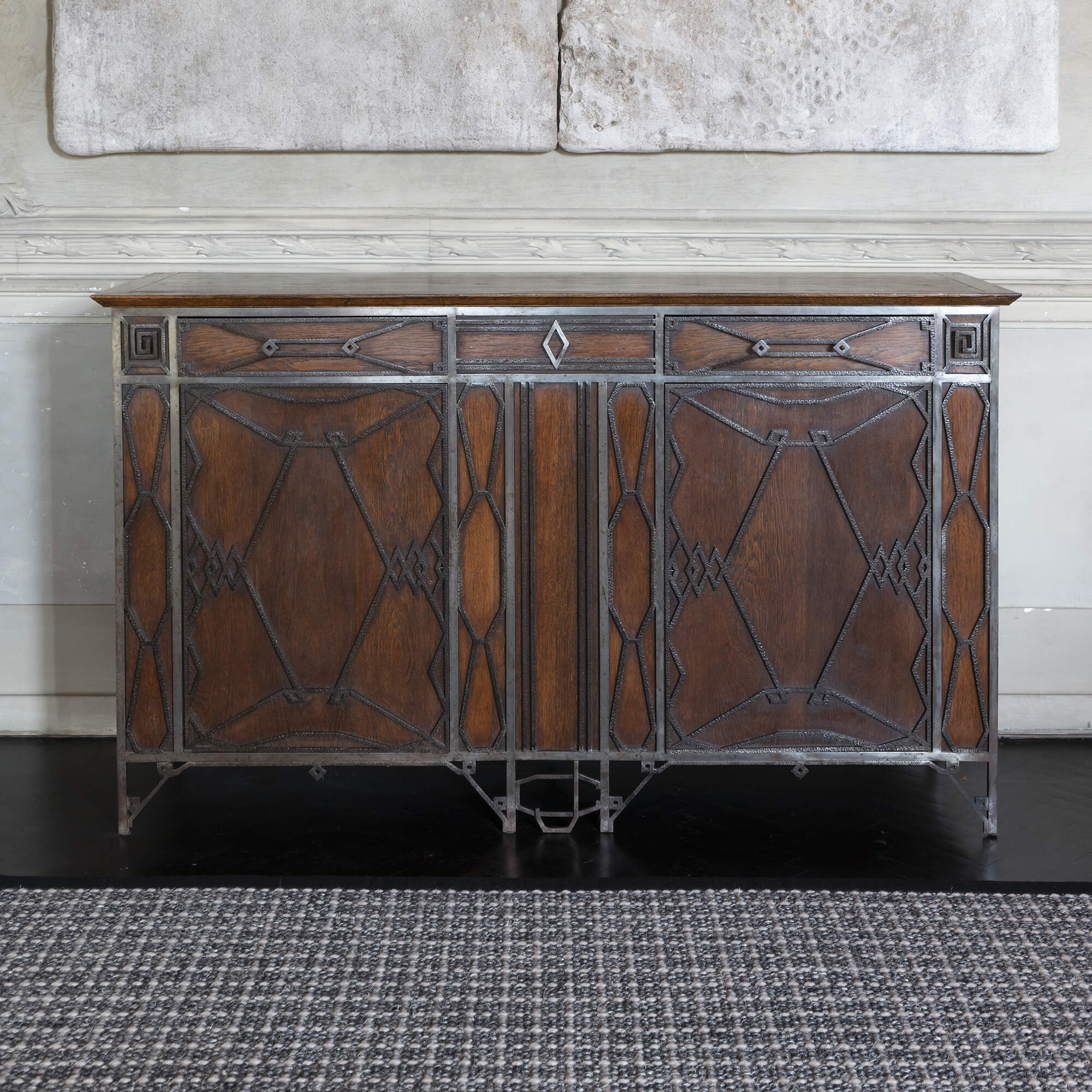 1920s French Art Deco Sideboard in Oak and Hand Forged Iron