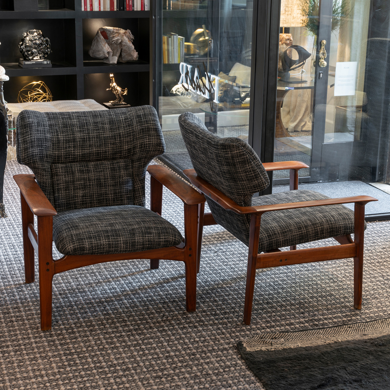 1960s Charles F. Joosten and Carlo Zacconi Pair of Armchairs, Italy