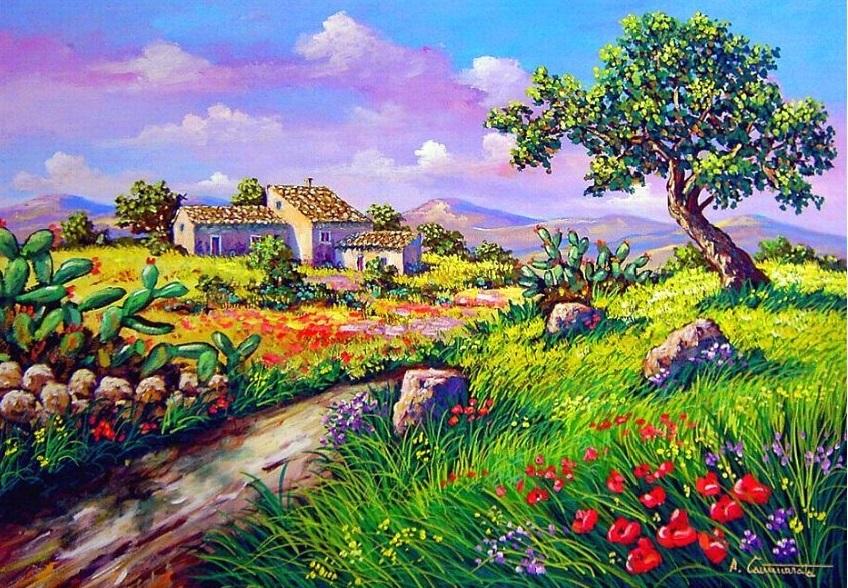 Quadri vendita dipinti quadri di paesaggi quadripaesaggi it for Disegni di paesaggi colorati