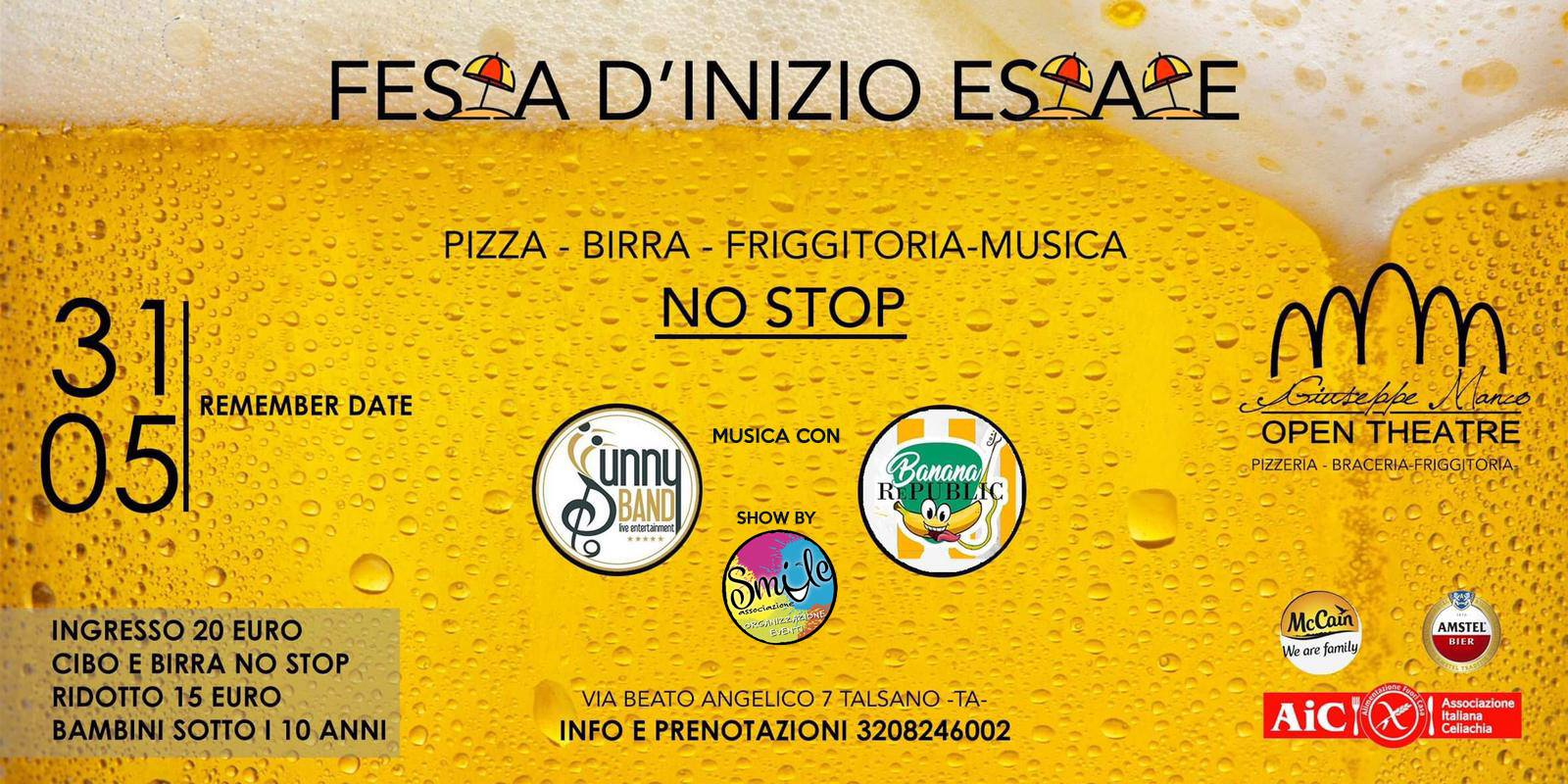 31 maggio: Festa d'inizio estate al Teatro Art Club Restaurant and Pizza