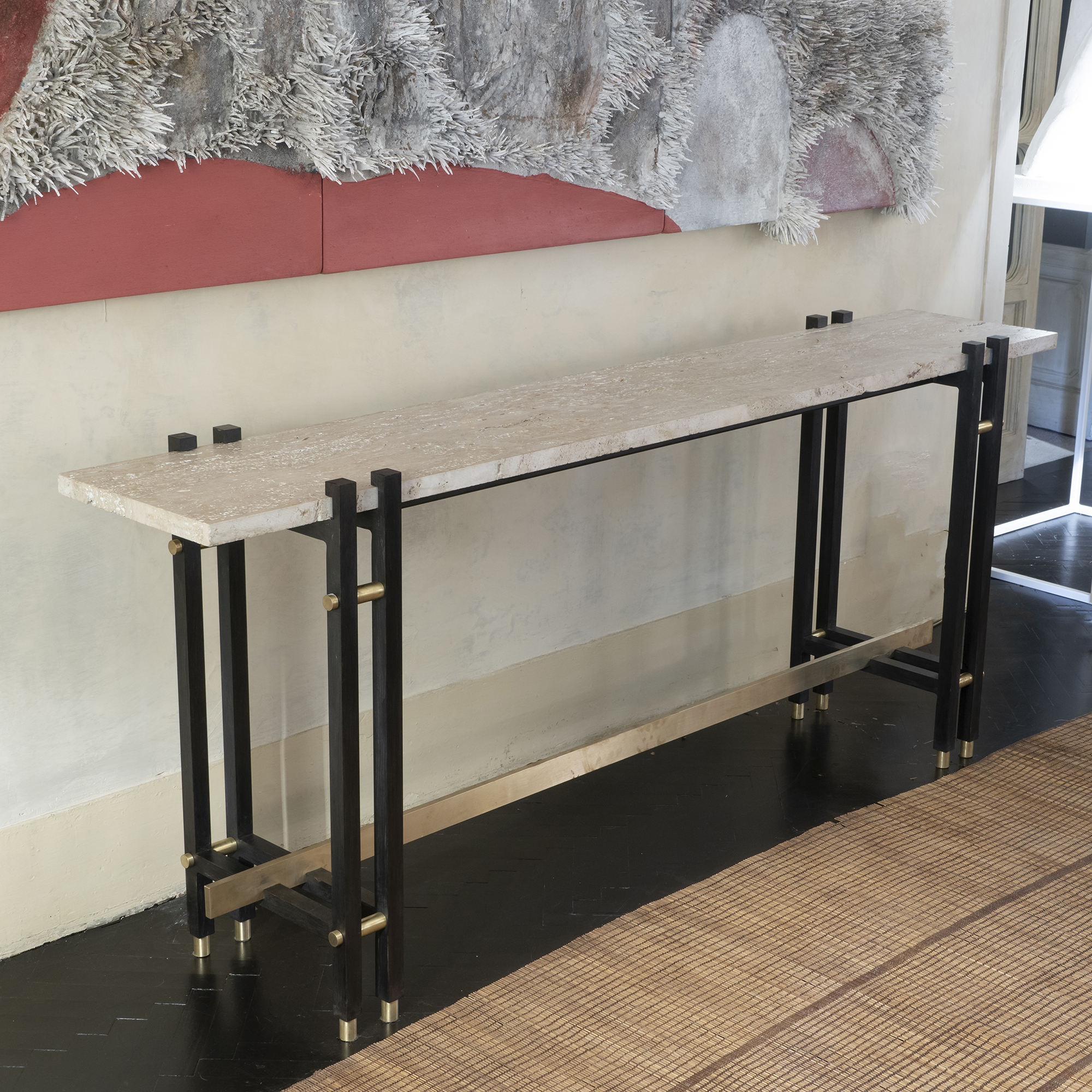 1980s French Travertine and Steel Console