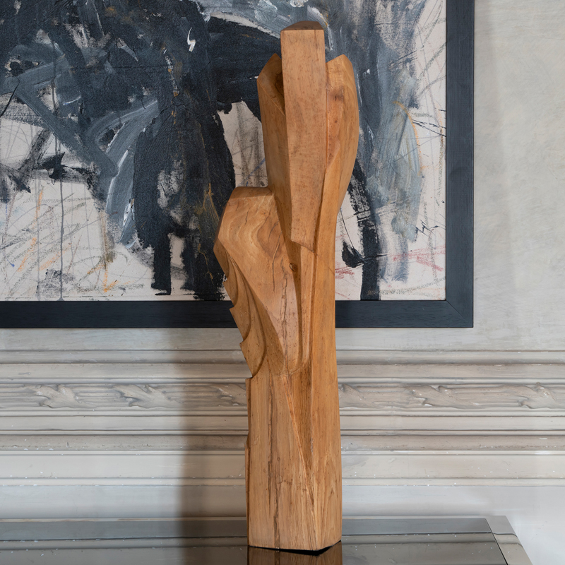 "1960s French ""Untitled"" Maple Wood Abstract Sculpture"