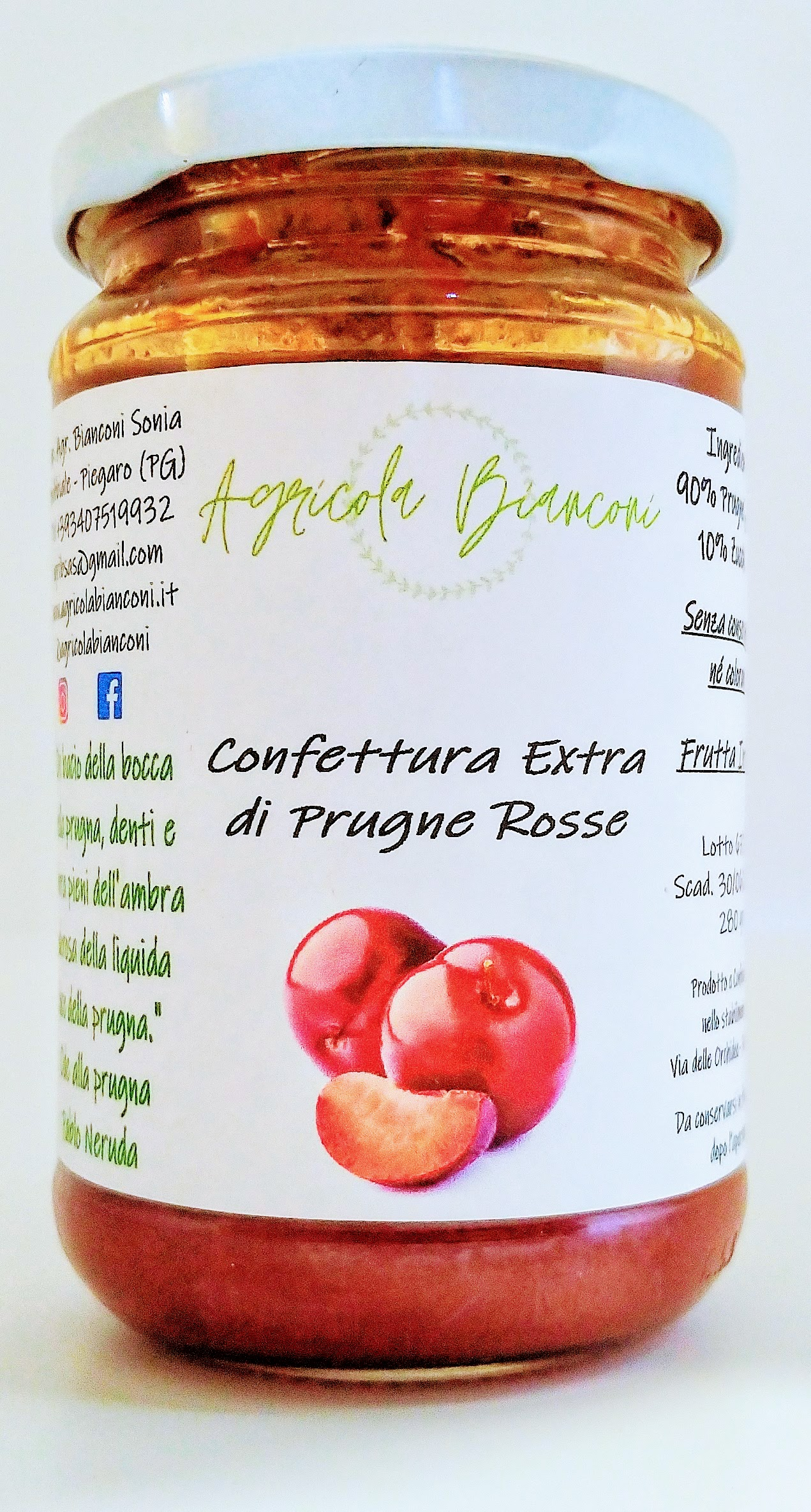 CONFETTURA EXTRA DI PRUGNE ROSSE 280 GR- EXTRA JAM OF RED PLUMS 280 GR