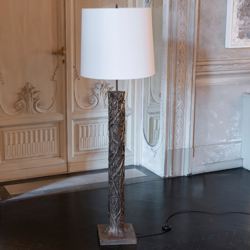 1960s French Brass Sculptural Floor Lamp with Flora and Fauna Motif