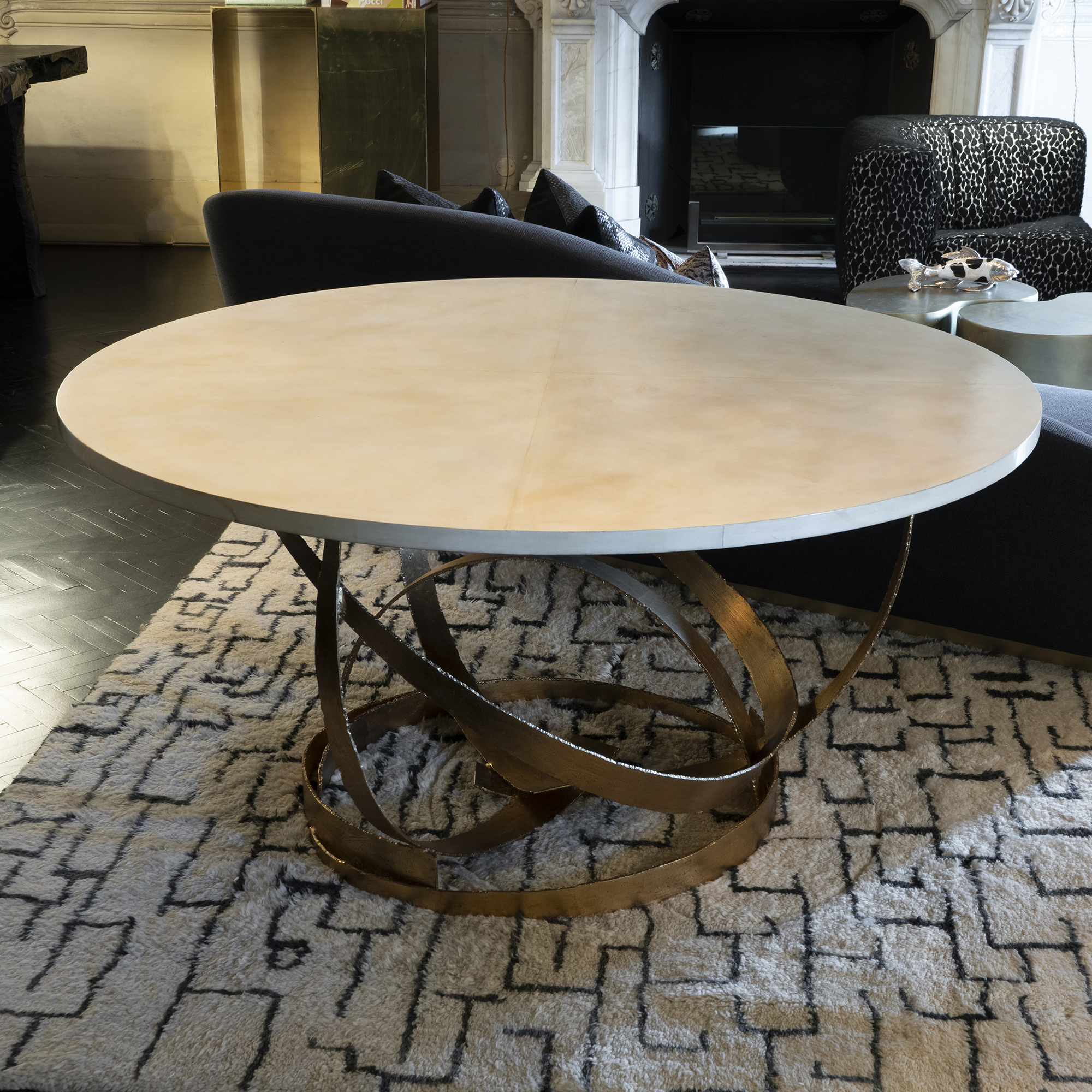Contemporary Sculptural Round Center Table