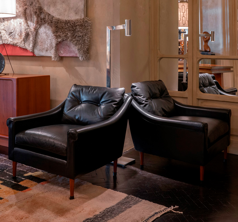 1950s French Mid-Century Modern Leather Armchairs