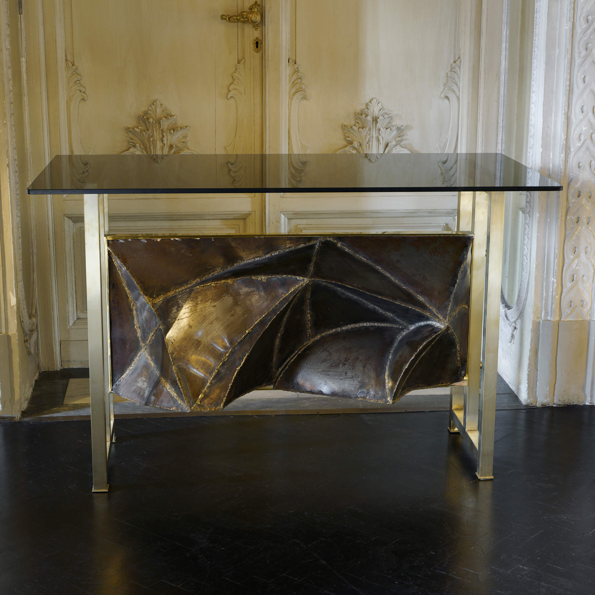 Contemporary Console with 1970s Aluminum Frieze, Italy 2019