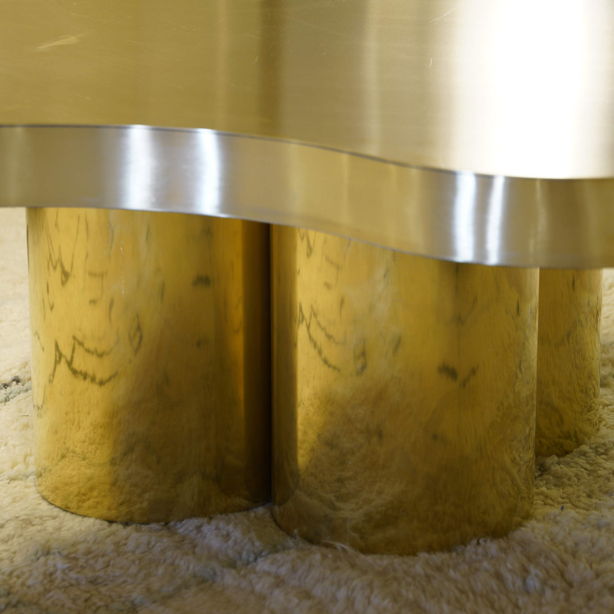Flair Edition Free-Form Low Coffee Table in Natural Brass, Italy 2019