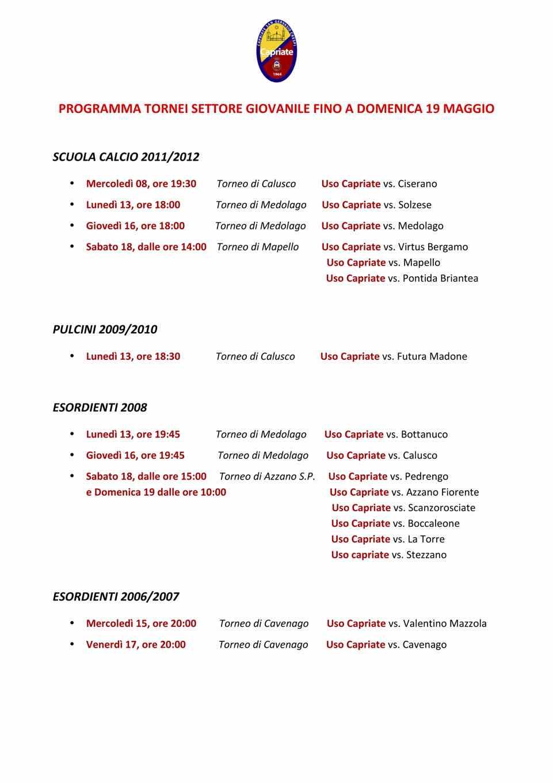 Calendario Esordienti 2020.Home Page