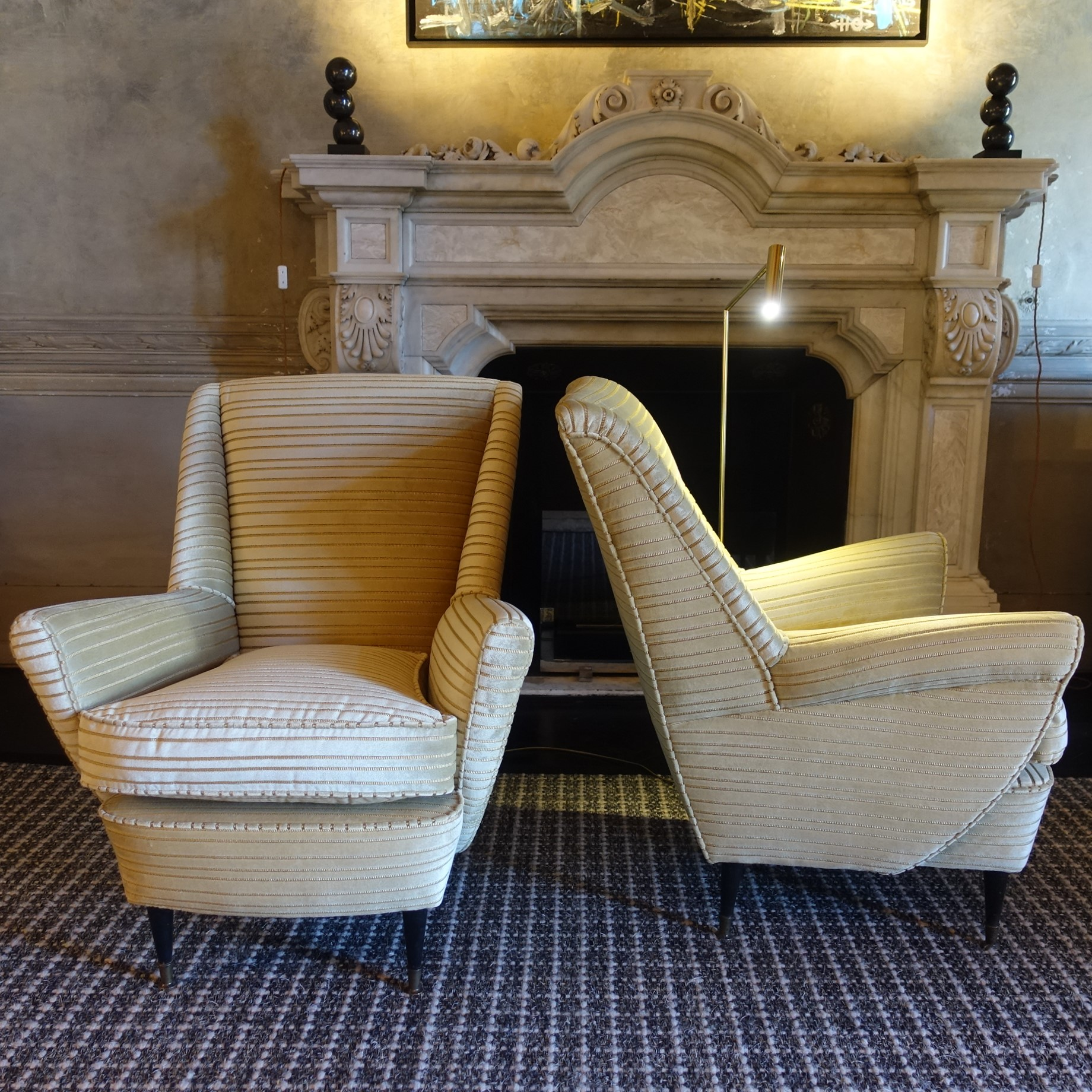 1950s Italian Pair of Armchairs with Gold Striped Jacquard