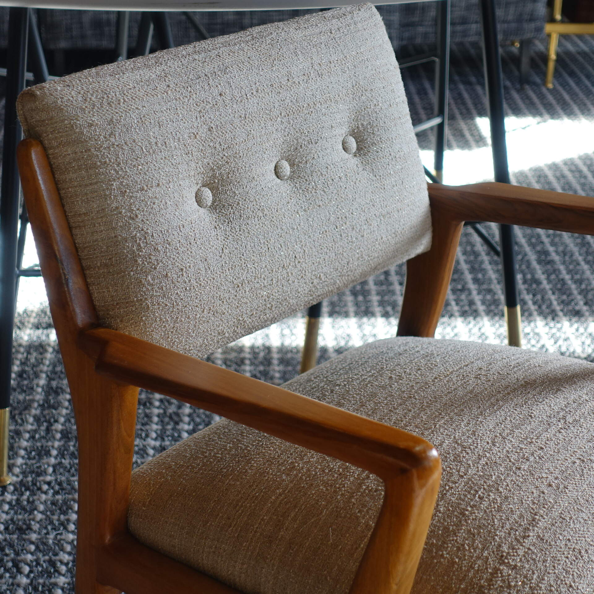 1960s Italian Pair of Light Walnut Armchairs