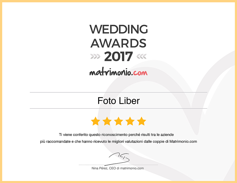 premio Wedding Awards 2017 nella categoria Fotografia e video