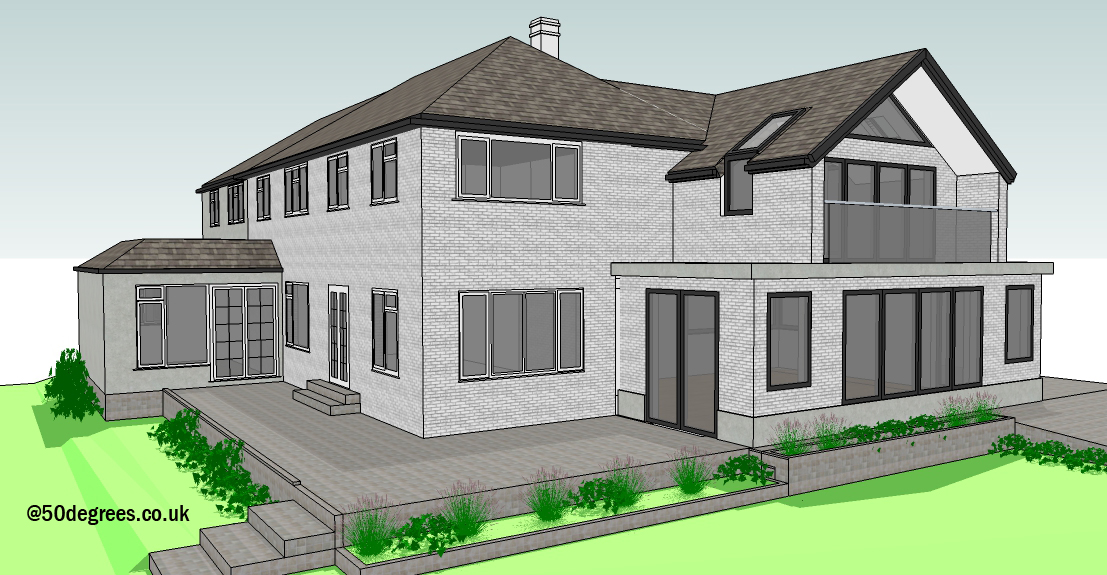 Two storey front and side extension. Currently on-site.