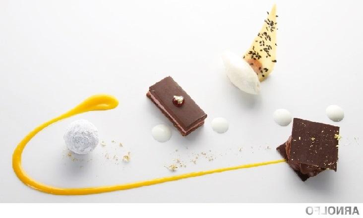 Spumarche - Crocevia di Sapori - Gaetano Trovato - Arnolfo Ristorante - Bitter cioccolato, millefoglie, tartufo alle spezie e gelato all'anice stellato