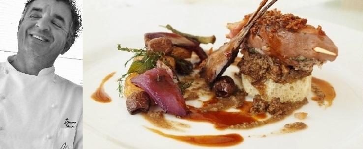 """Spumarche - Explorer - chef Mauro Uliassi - Senigallia - ** Michelin Guide - Restaurant -   Pečená treska s omáčkou  *  Roštenka """"alla Marchigiana"""" zo sulky lesnej"""