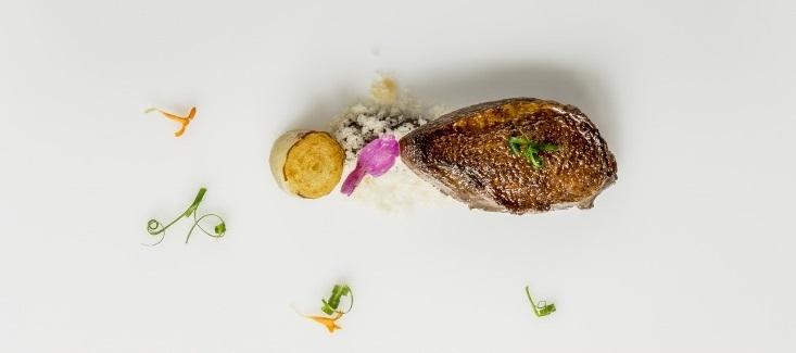 Spumarche - Crocevia di Sapori - Arkaitz Muguruza Hoyos - Europa Restaurante – Pamplona - piccione di Araiz con nuvola di Macadamia - * Michelin Guide
