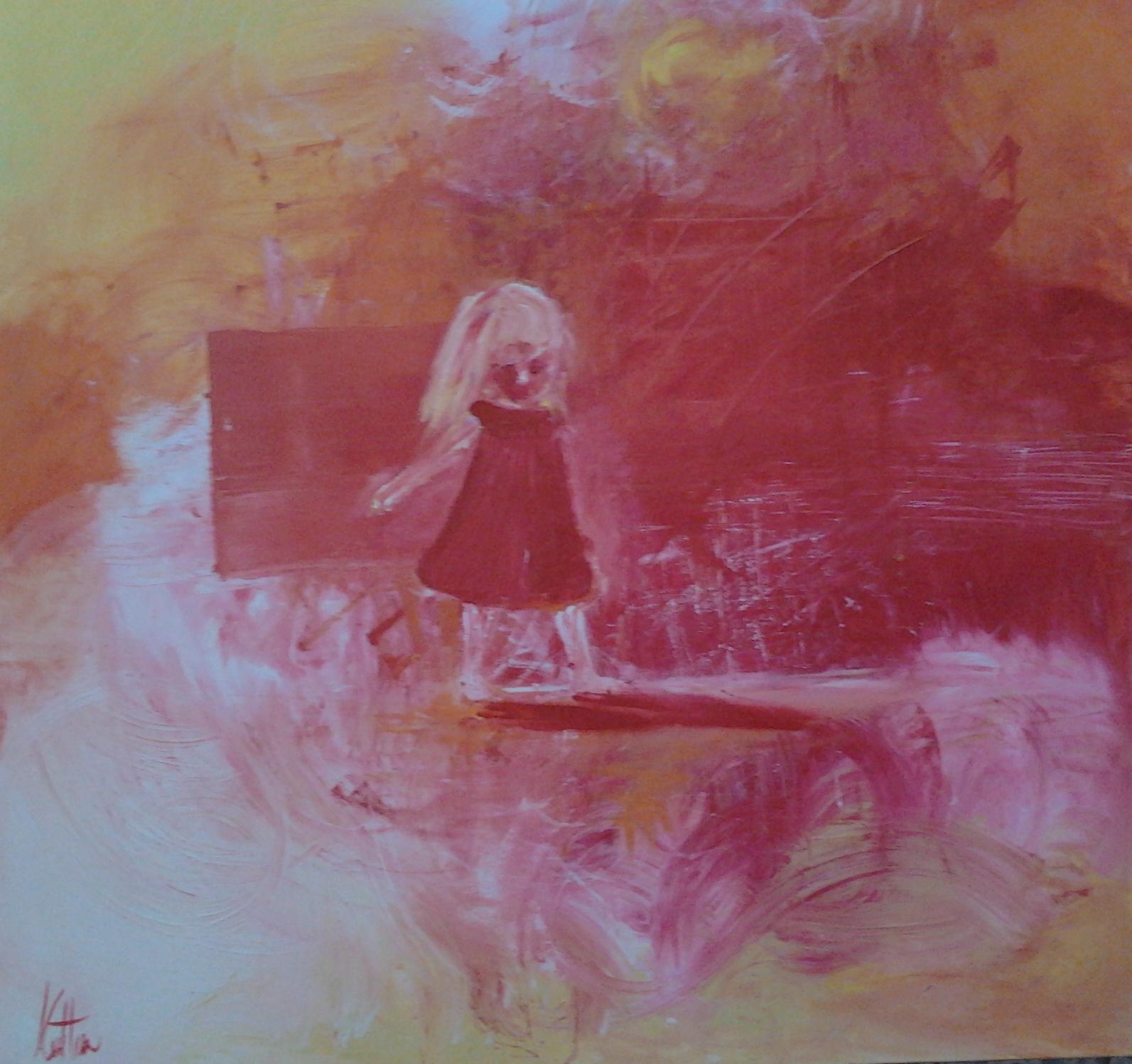 Meditazioni di una bambina. olio e grafite su tela 50x50 cm- 2011