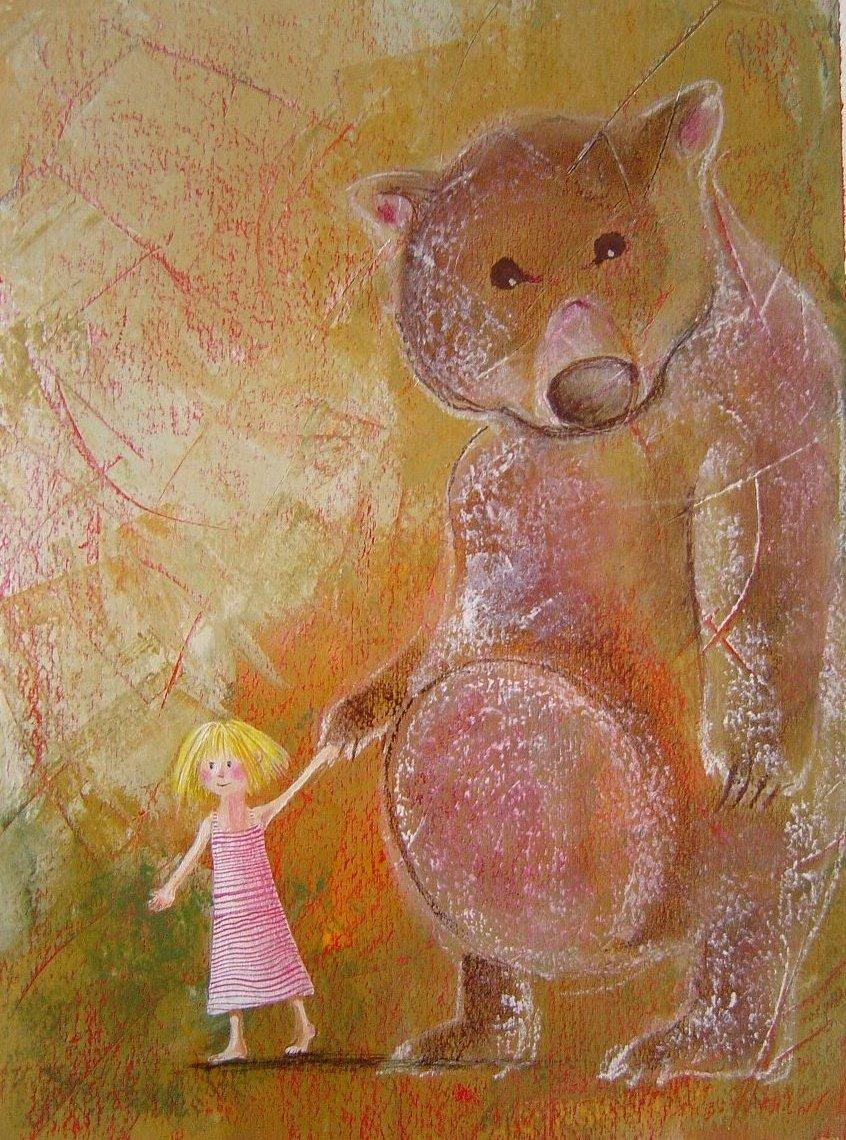 Alice e Balù. illustrazione, tecnica mista su carta - 2007