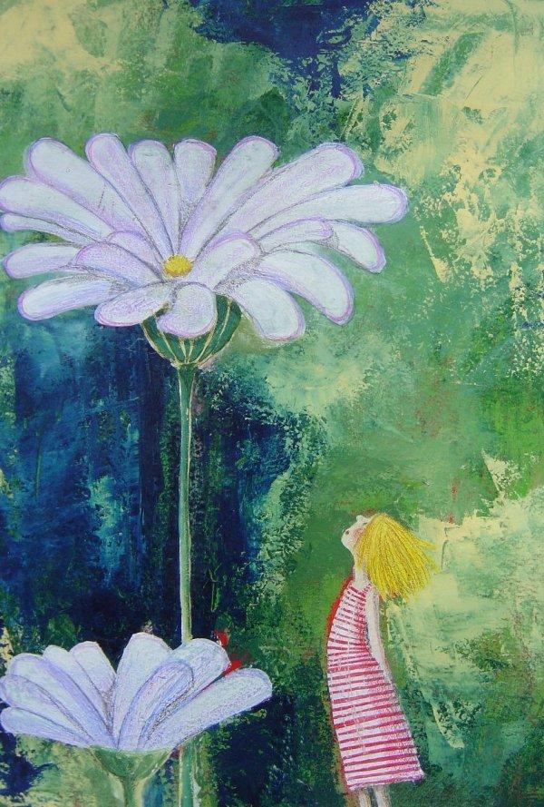 Alice sotto il fiore - illustrazione, tecnica mista su carta - 2007
