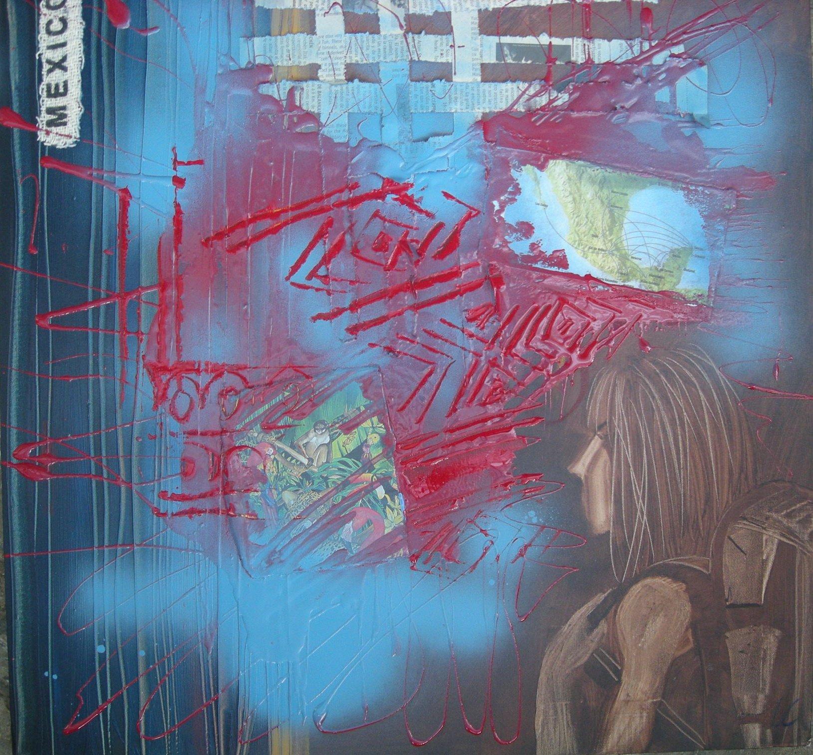 Diari di viaggio II . Tecnica mista su tela 50x50 cm - 2011