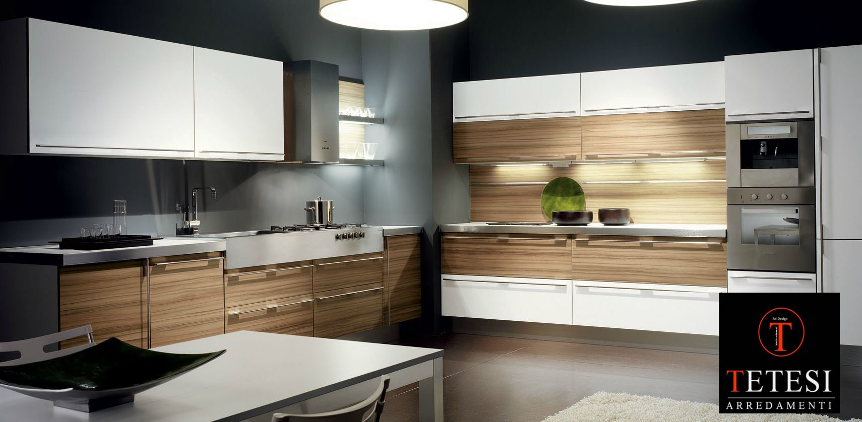 cucina moderna bicolore con cappa new design. net cucine fiores ...