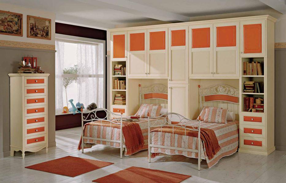 Camerette in stile NEW VINTAGE, su misura, su progetto, in vero legno