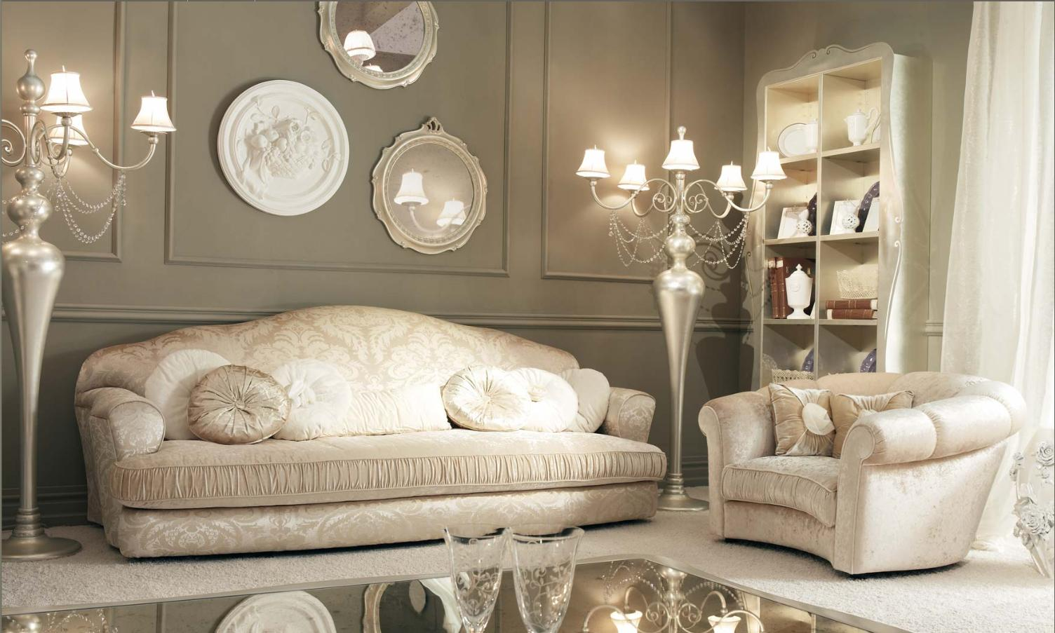 Divani classici realizzati in italia sfoderabili in for Vintage chic living room ideas