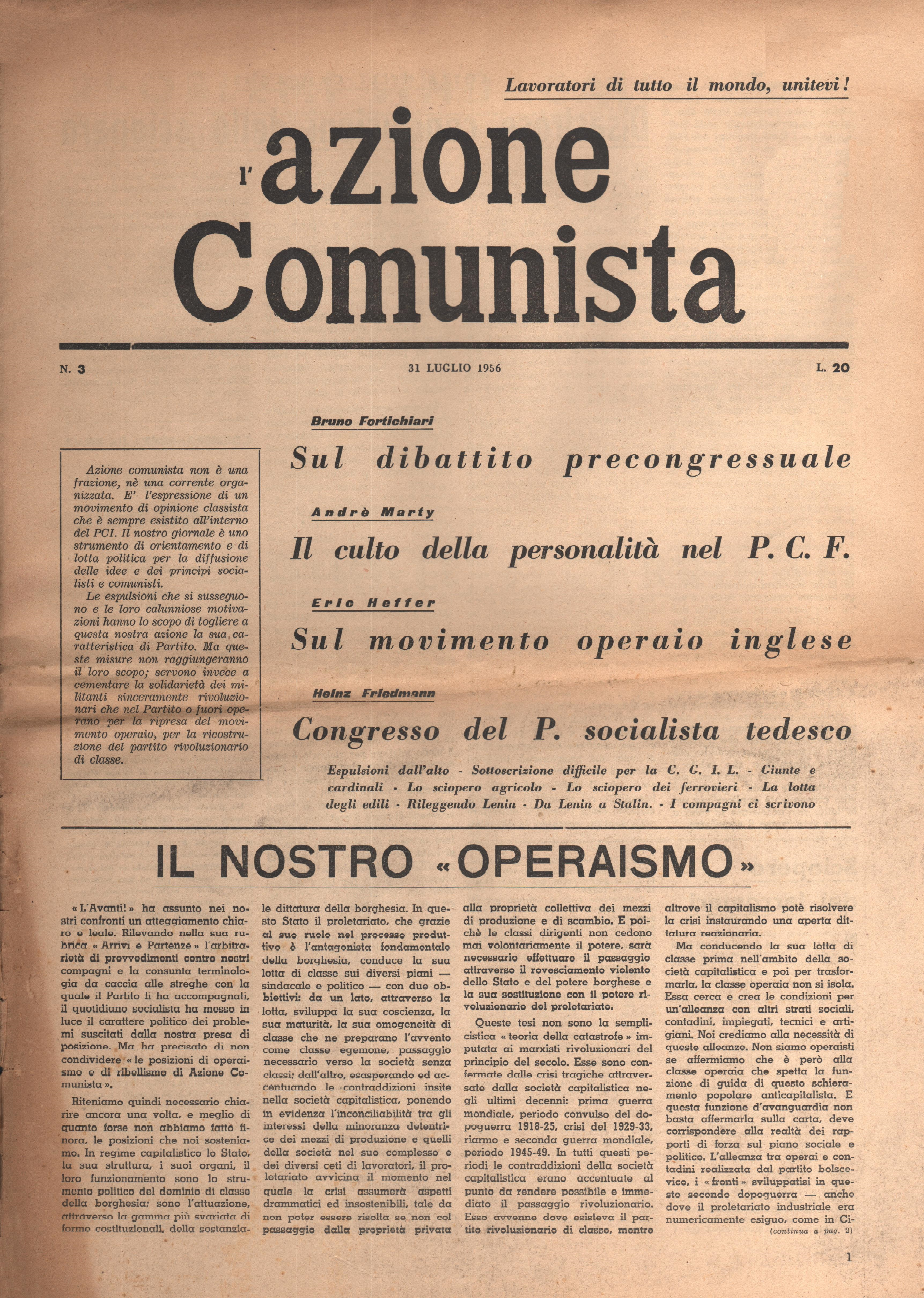 L'Azione Comunista n. 3 - pag. 1
