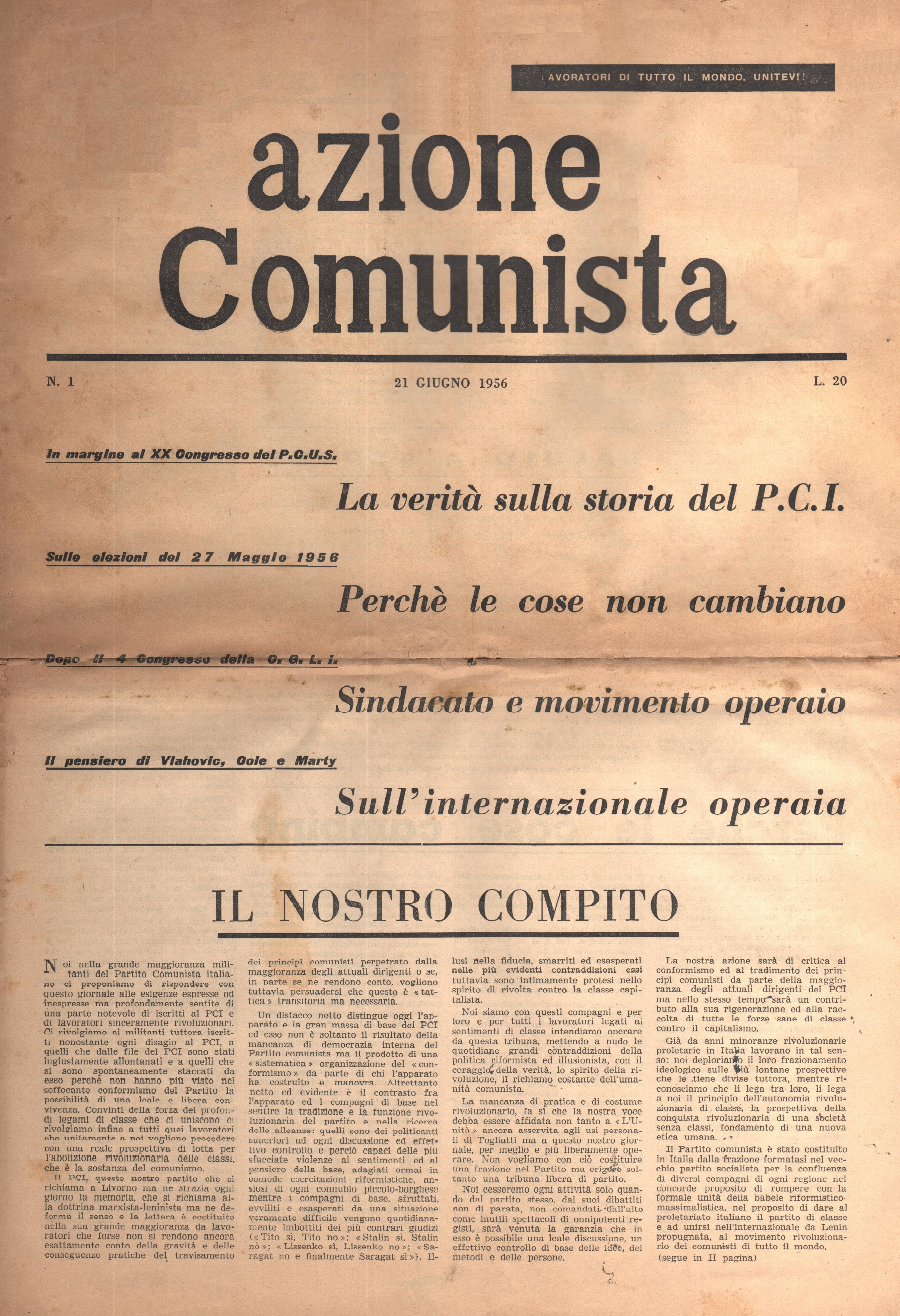Azione Comunista n. 1 - pag. 1