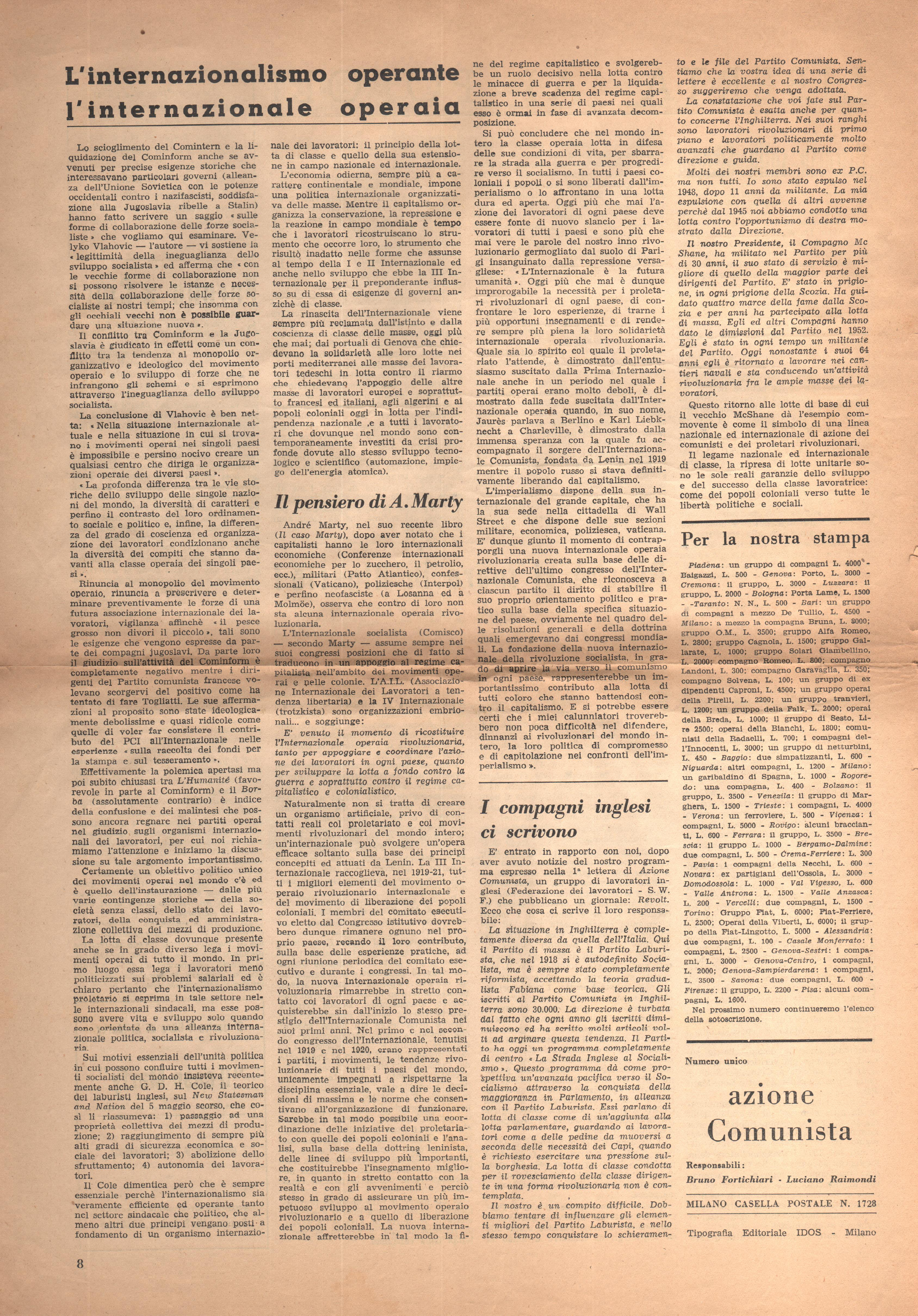 Azione Comunista n. 1 - pag. 8