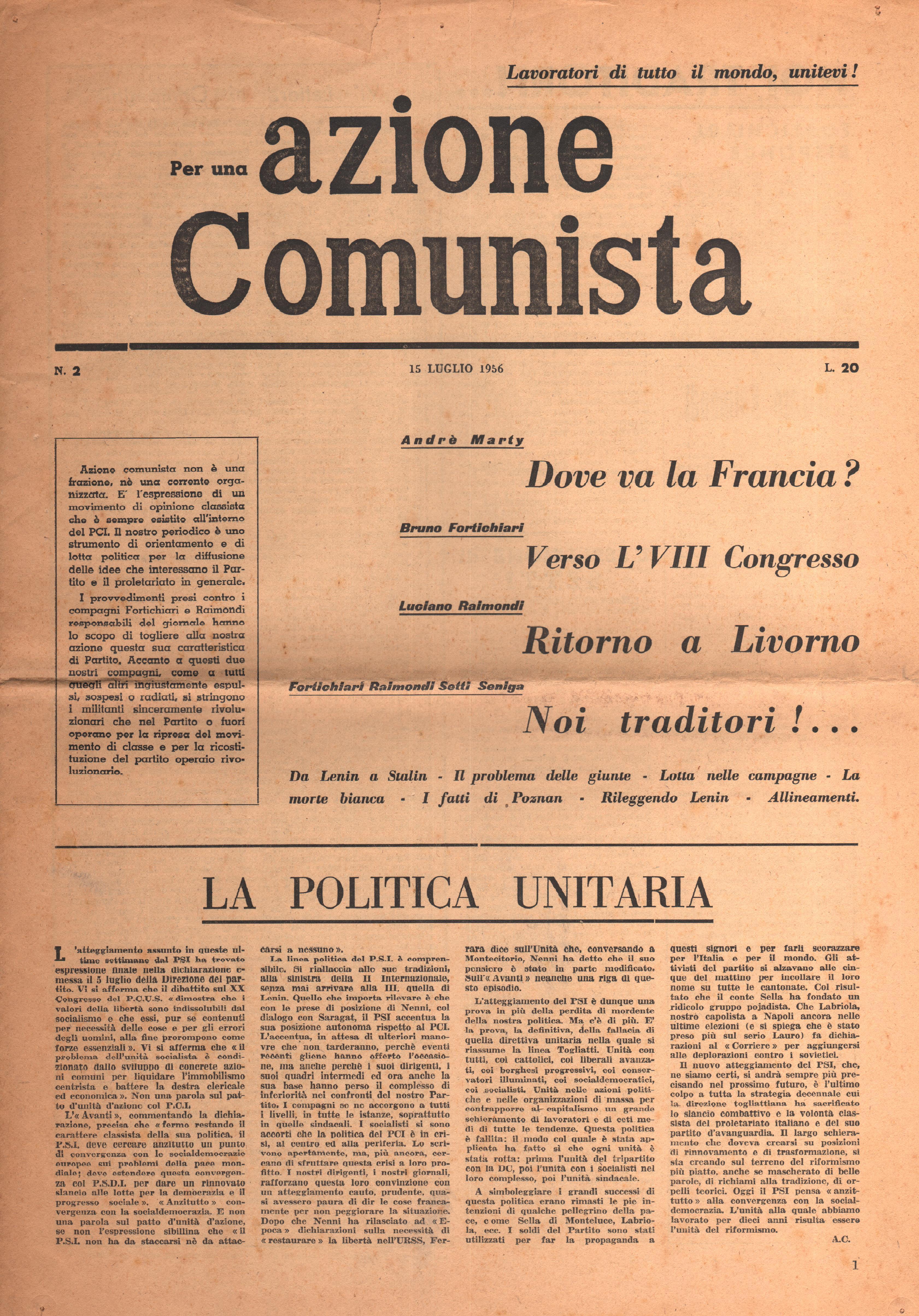 Per una Azione Comunista n. 2 - pag. 1