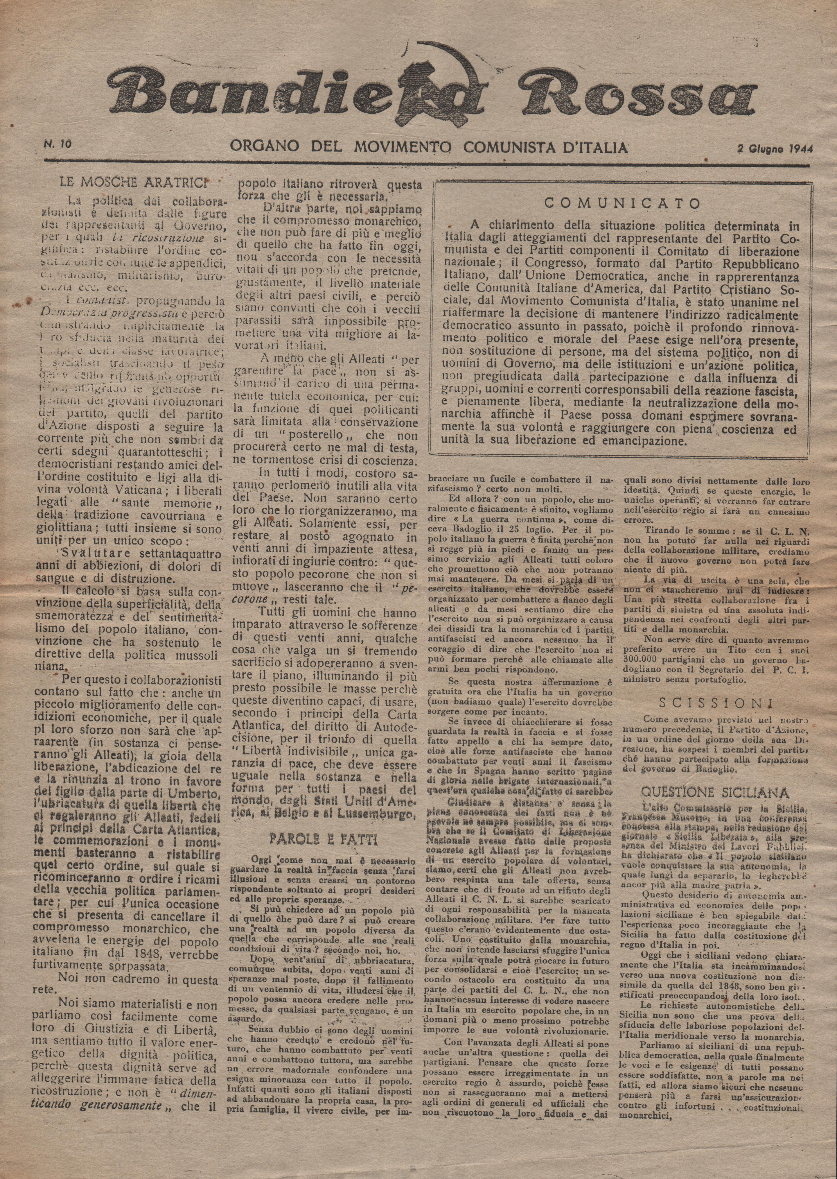Bandiera Rossa n.10 (10 giugno 1944) - pag. 1