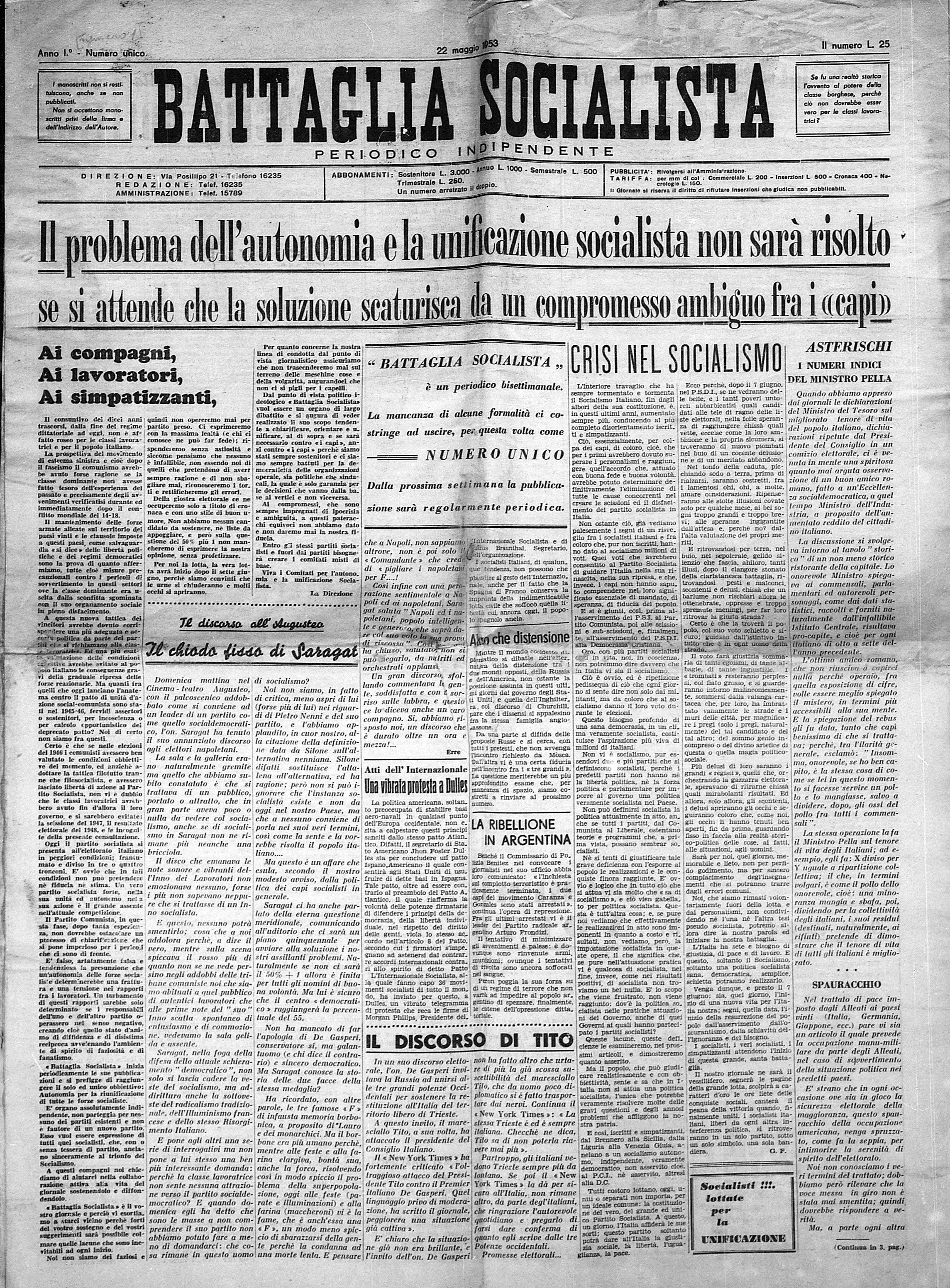 Battaglia Socialista n. 1 - pag 01