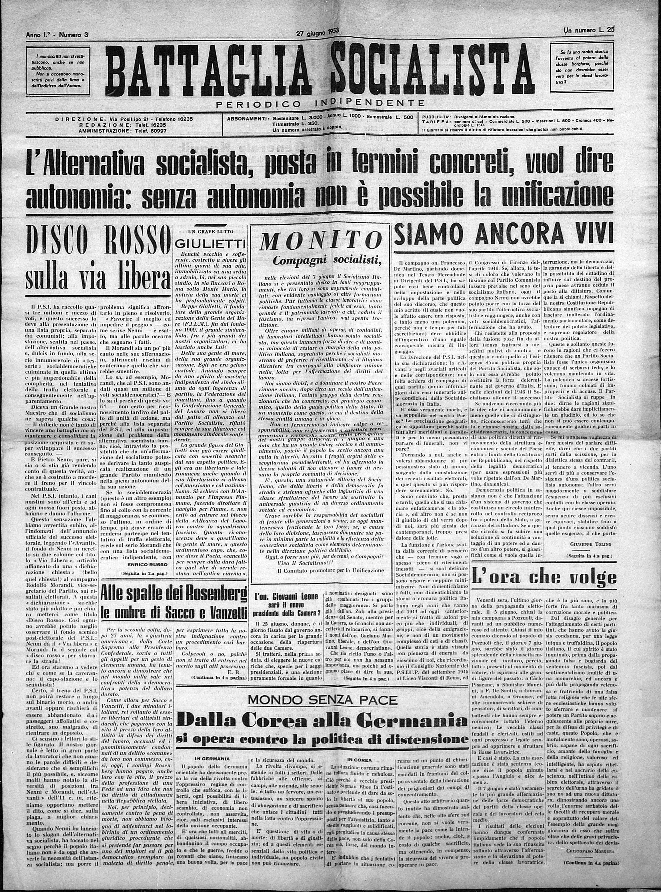 Battaglia Socialista n. 3 giugno 1953 - pag. 1