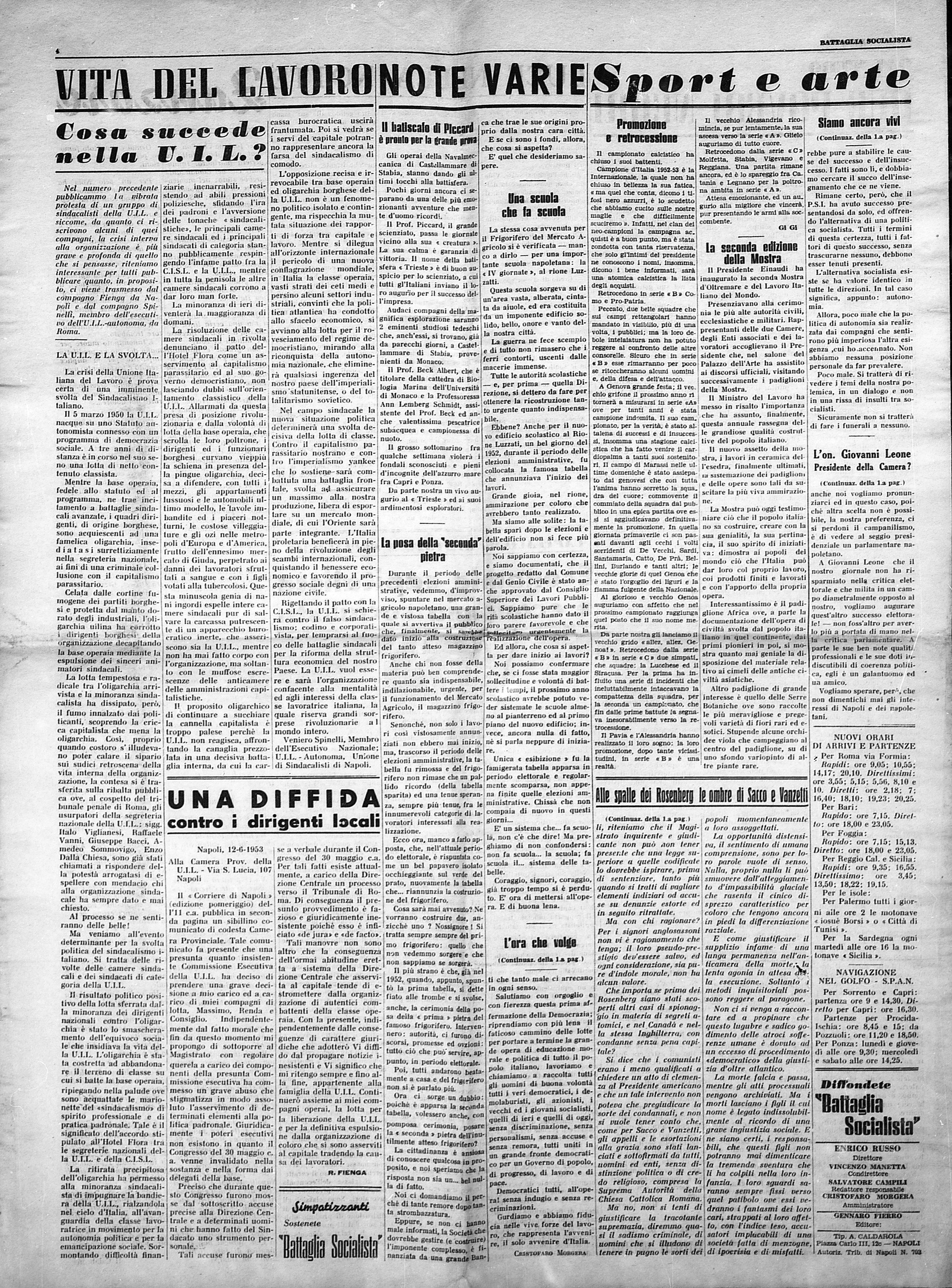 Battaglia Socialista n. 3 giugno 1953 - pag. 4