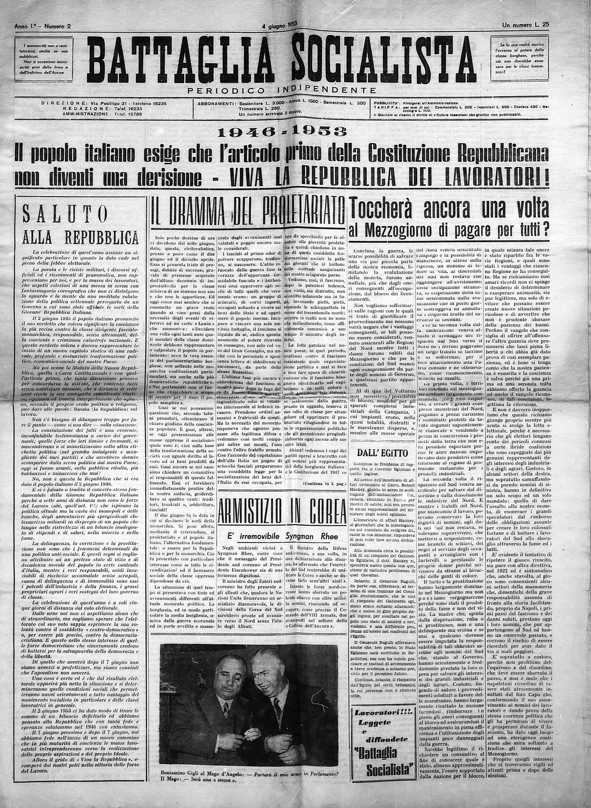 Battaglia Socialista n. 2 anno 1953 - pag. 1
