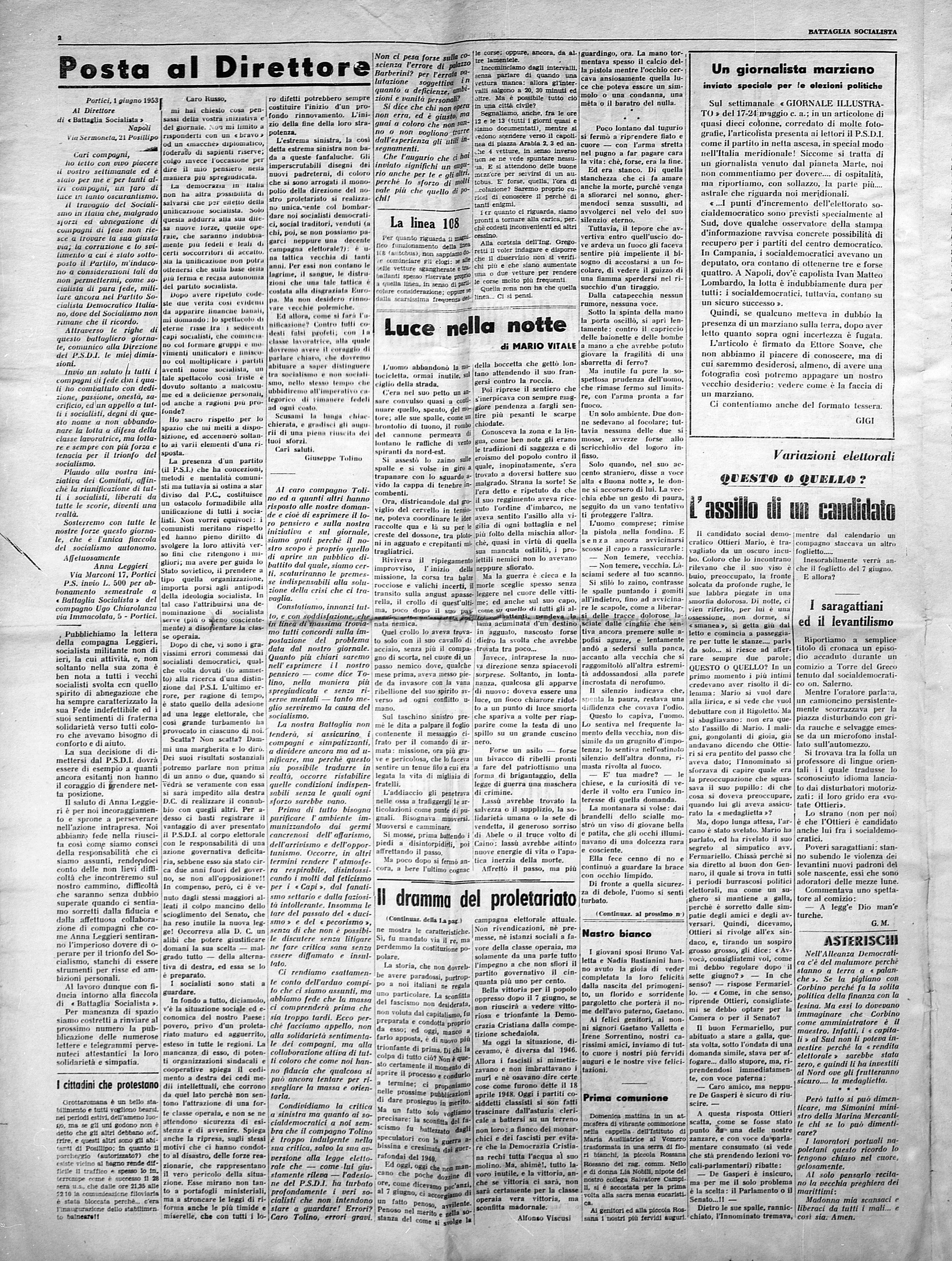 Battaglia Socialista n. 2 anno 1953 - pag. 2