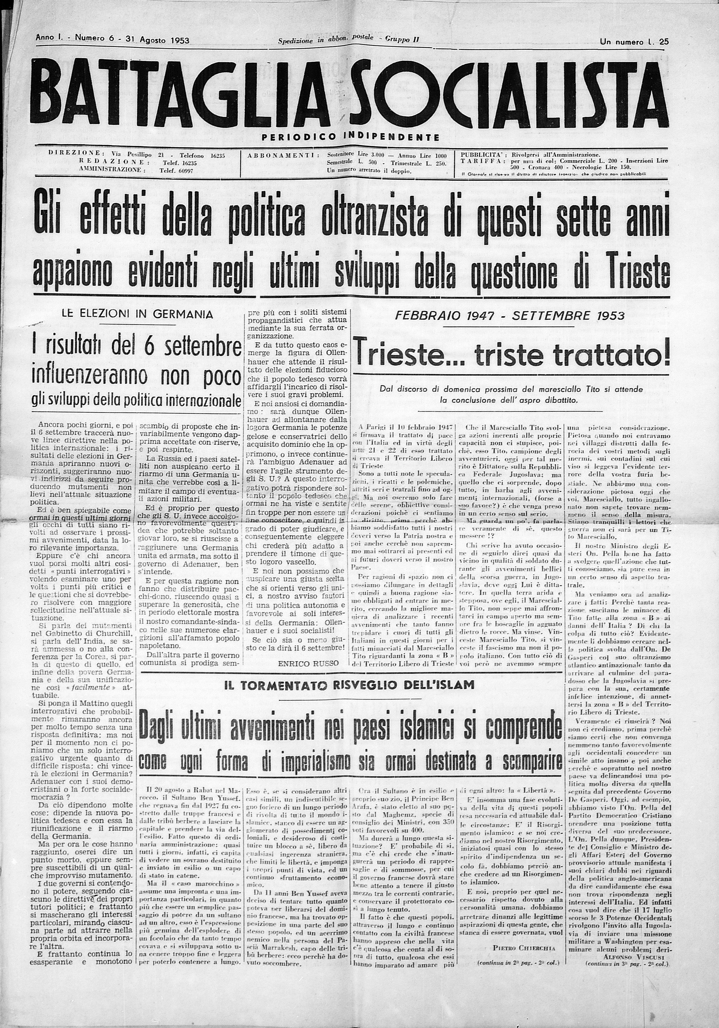 Battaglia Socialista n. 6 - pag. 01