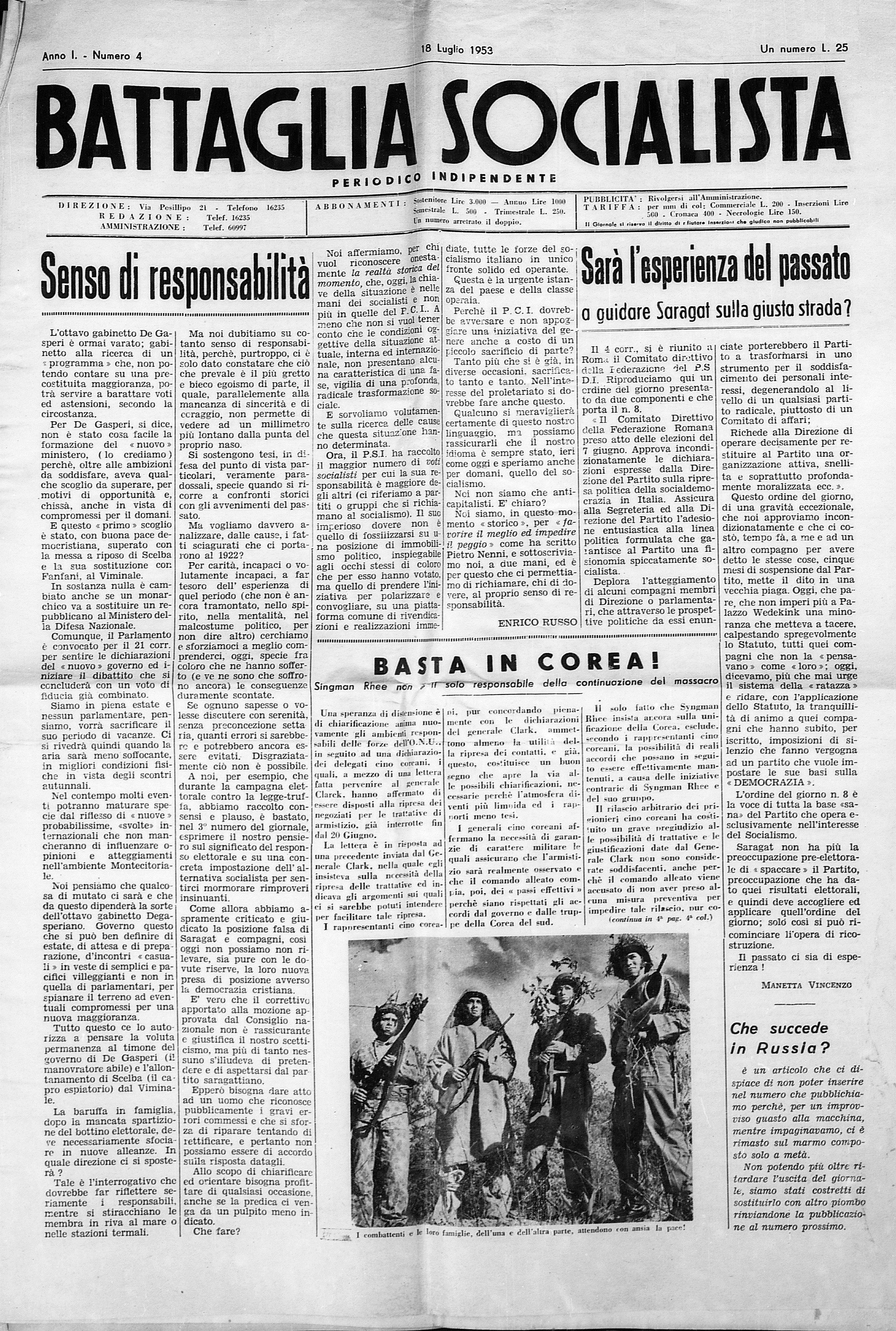 Battaglia Socialista luglio 1953 - pag. 01