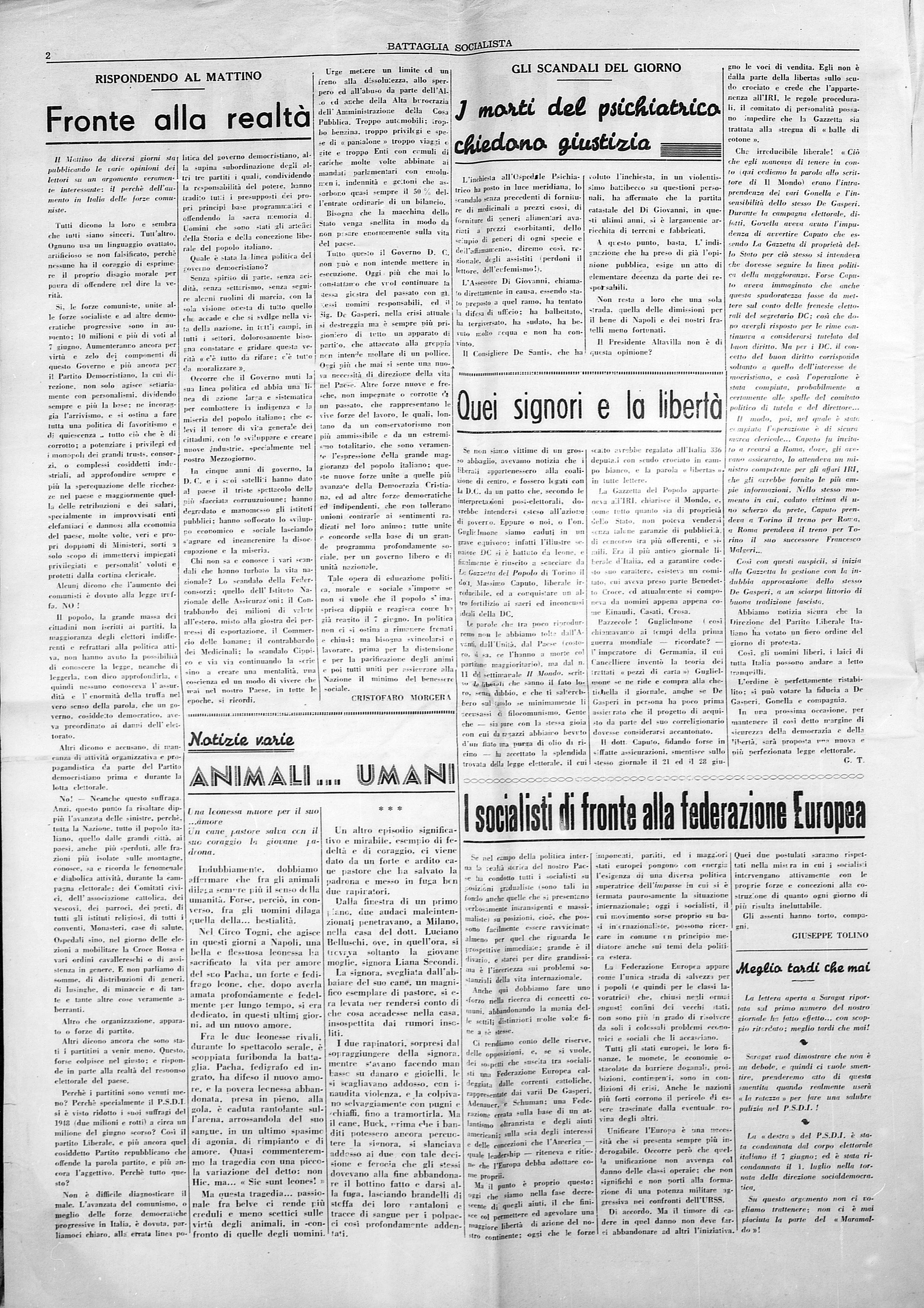 Battaglia Socialista luglio 1953 - pag. 02