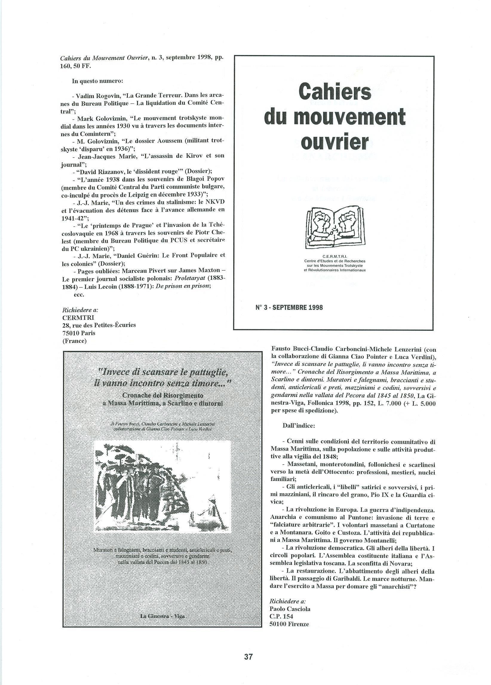 Quaderni del Centro Studi Pietro Tresso (1996-2009) n. 14 (novembre 1998) - pag. 38