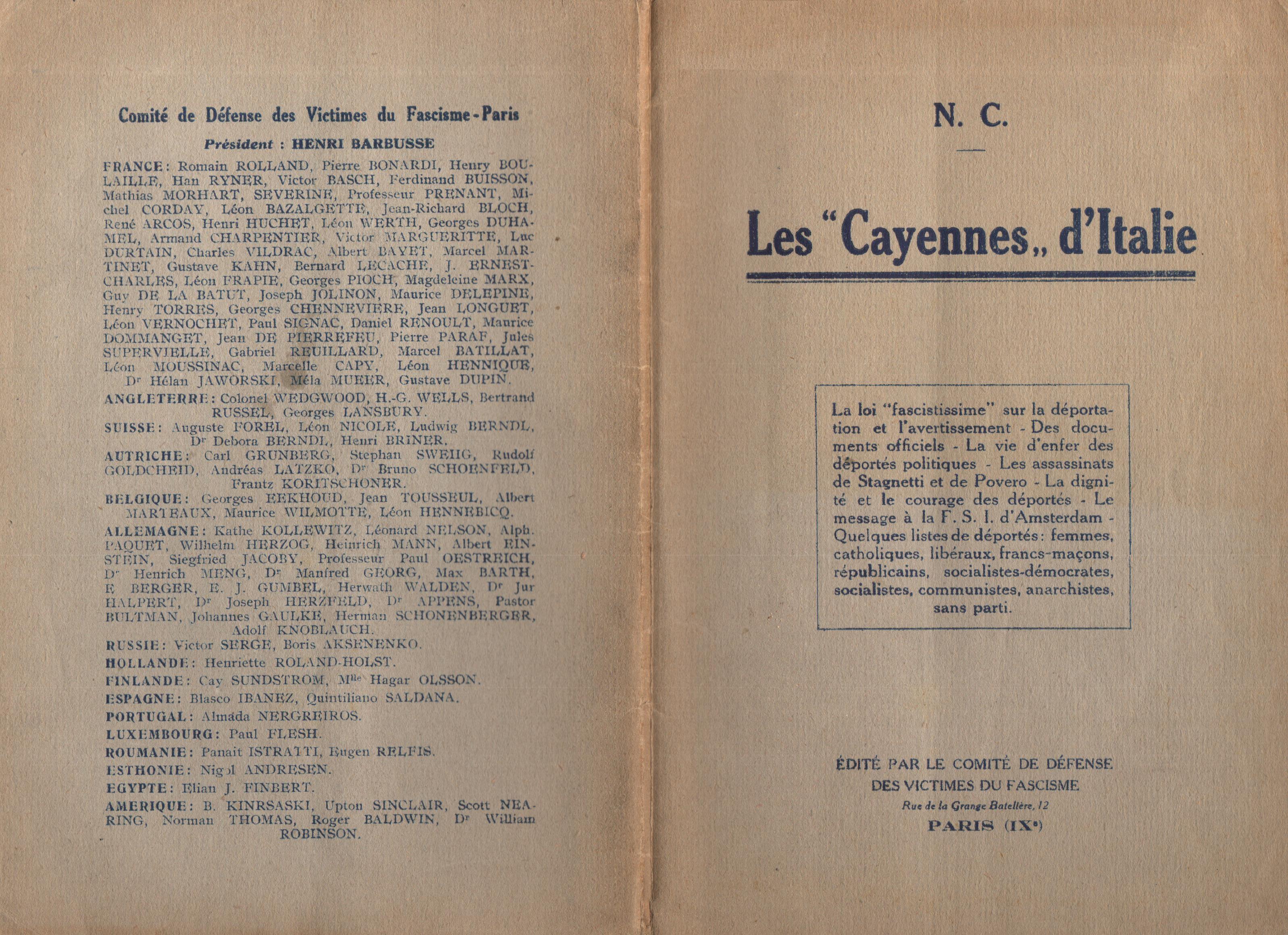 Nicola Cilla, Les «Cayennes» d'Italie - pag. 1