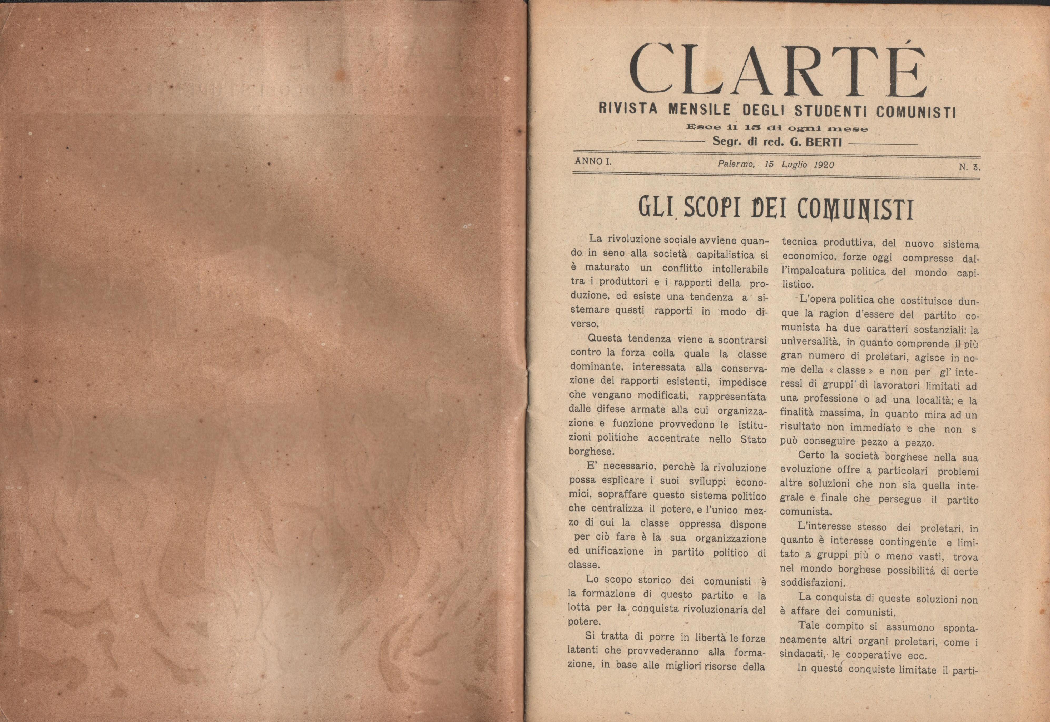 Clarté. Rivista mensile degli studenti comunisti (a. I, n. 3, Palermo, 15 luglio 1920) - pag. 2