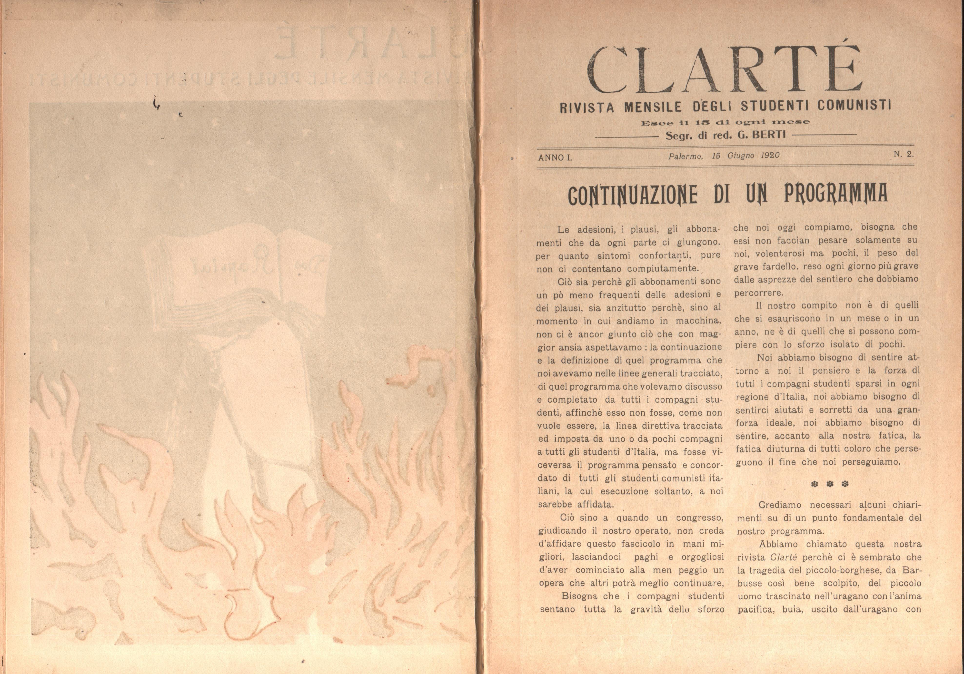 Clarté. Rivista mensile degli studenti comunisti (a. I, n. 2, Palermo, 15 giugno 1920) - pag. 2