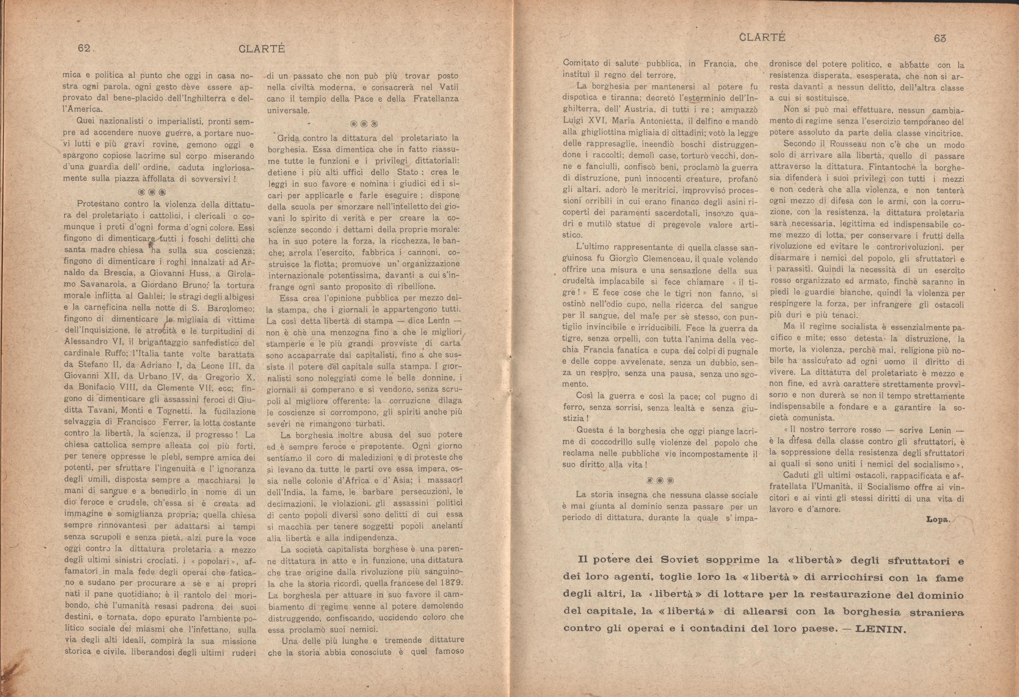 Clarté. Rivista mensile degli studenti comunisti (a. I, n. 3, Palermo, 15 luglio 1920) - pag. 9