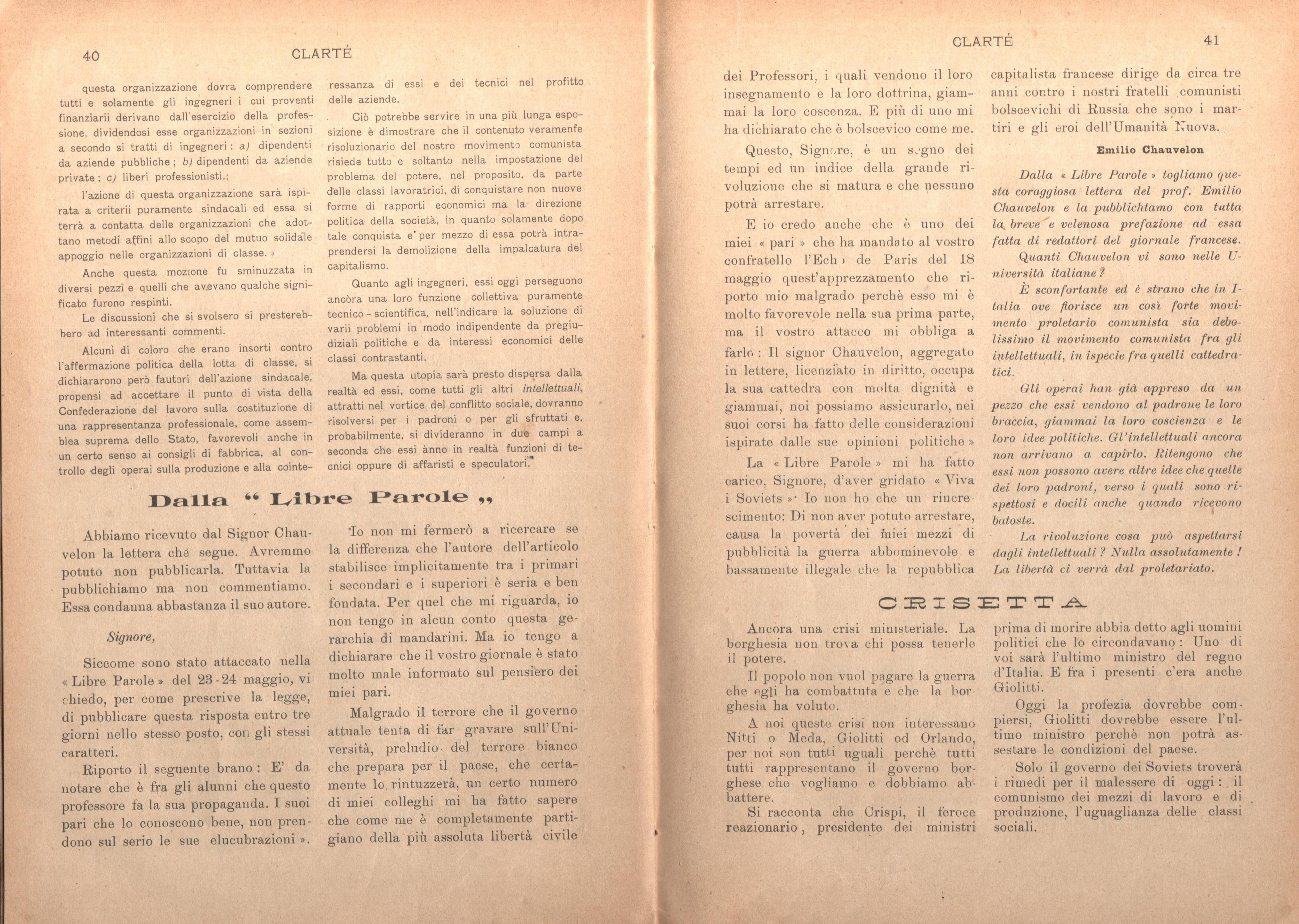 Clarté. Rivista mensile degli studenti comunisti (a. I, n. 2, Palermo, 15 giugno 1920) - pag. 10