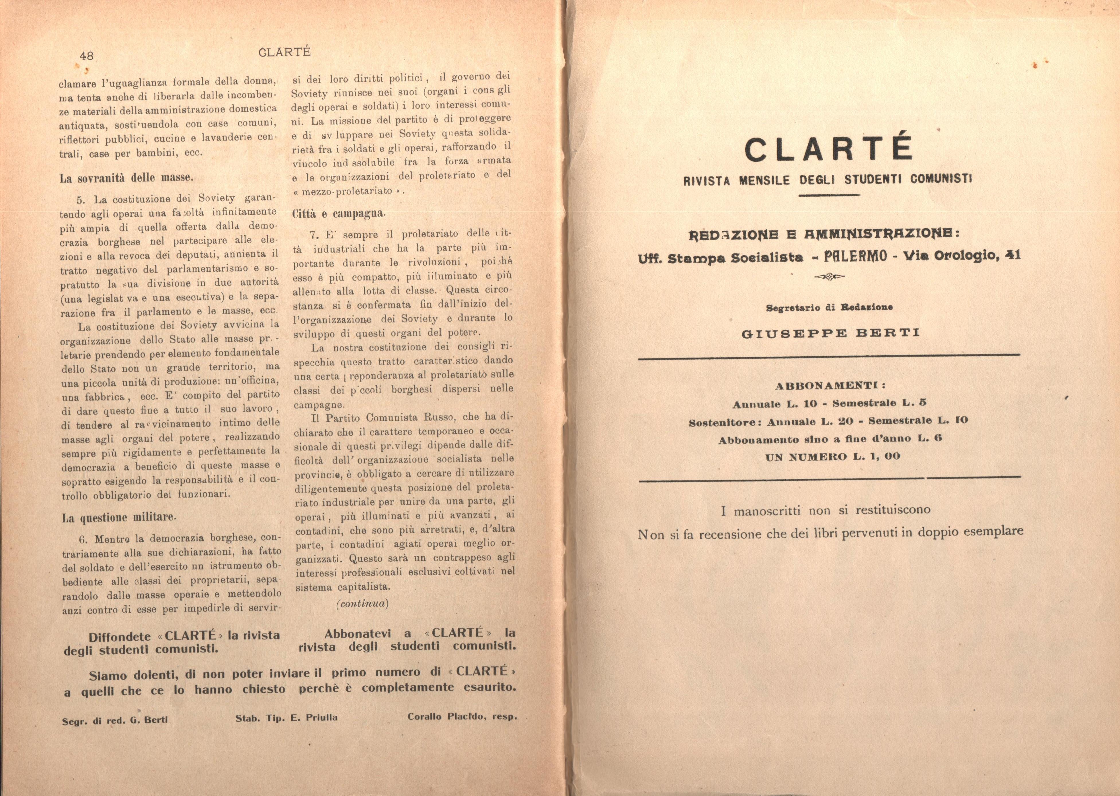 Clarté. Rivista mensile degli studenti comunisti (a. I, n. 2, Palermo, 15 giugno 1920) - pag. 14