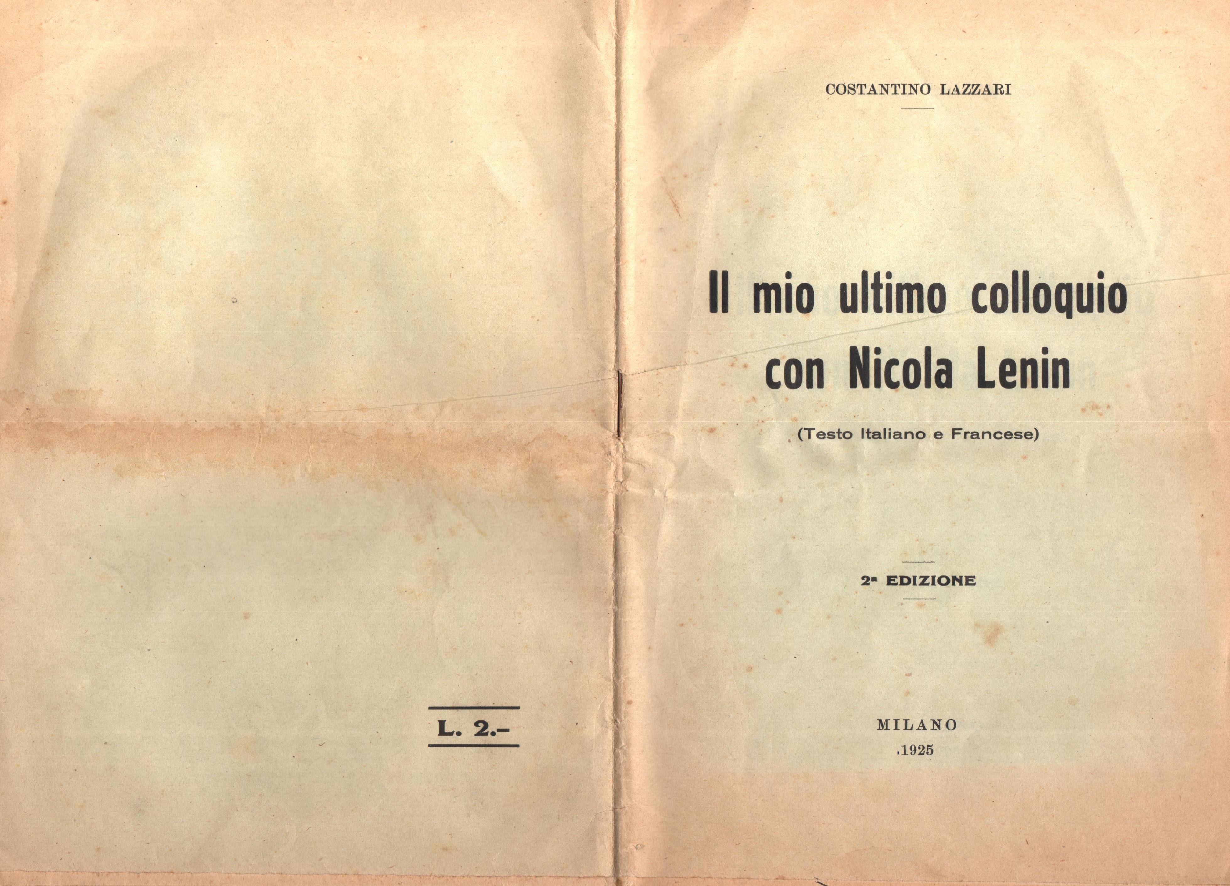 C. Lazzari, Il mio ultimo colloquio con Nicola Lenin - pag. 1