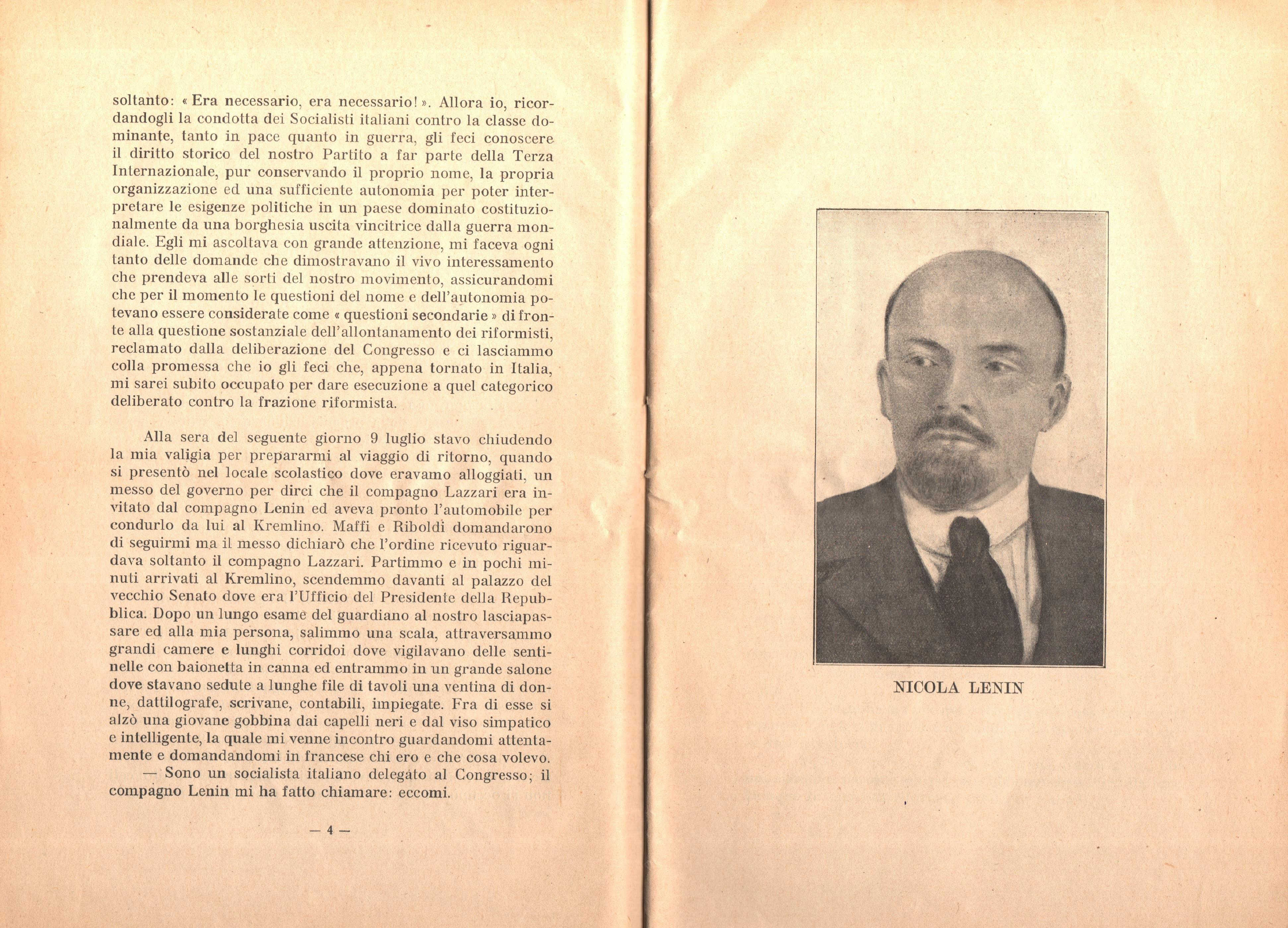 C. Lazzari, Il mio ultimo colloquio con Nicola Lenin - pag. 4